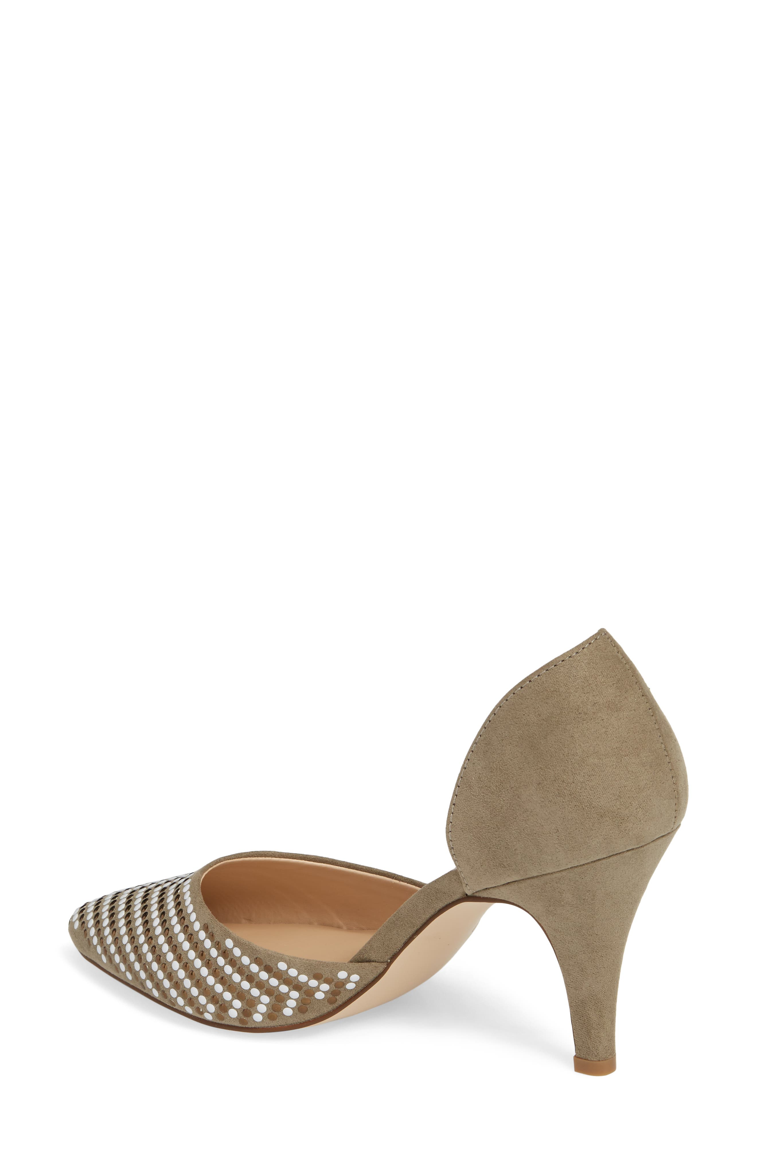 Mimosa Studded d'Orsay Pump,                             Alternate thumbnail 2, color,                             OLIVE SUEDE