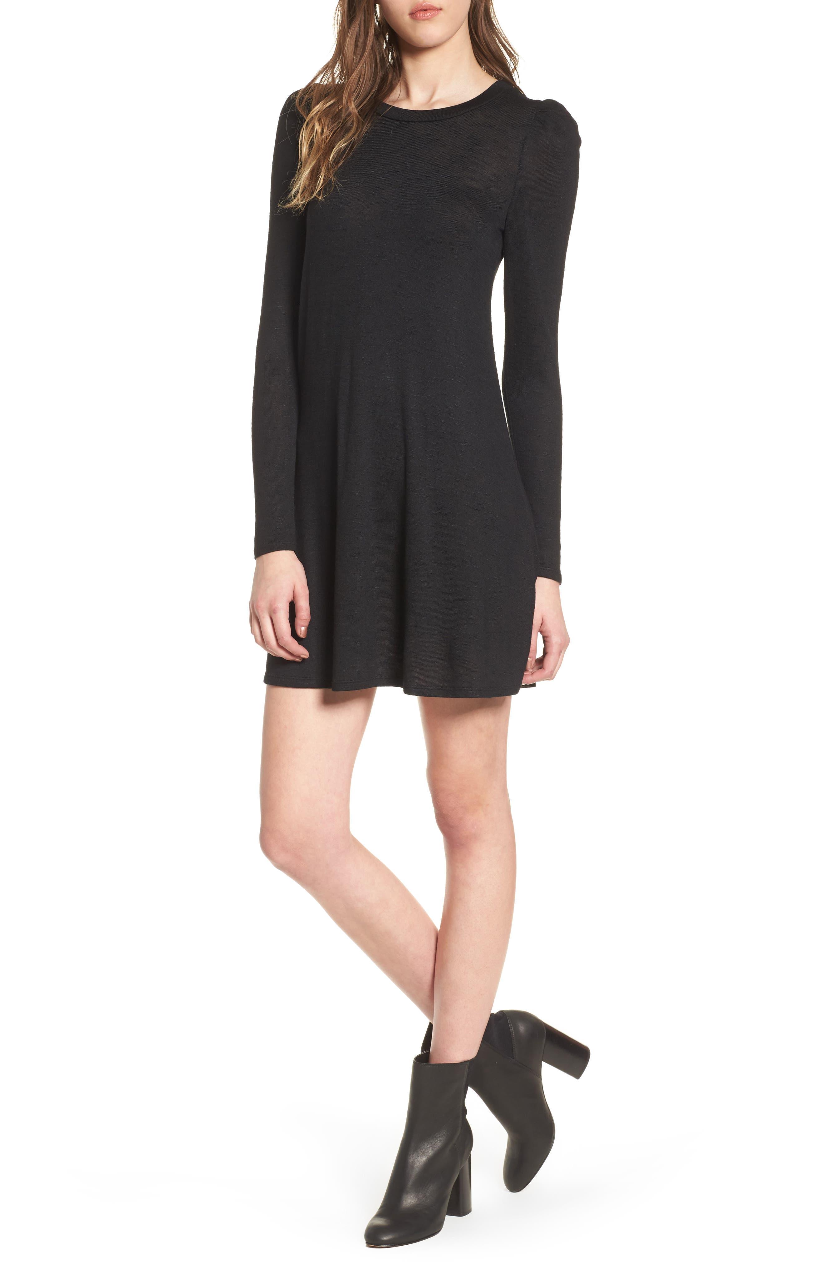 Knit Puff Shoulder Dress,                             Main thumbnail 1, color,