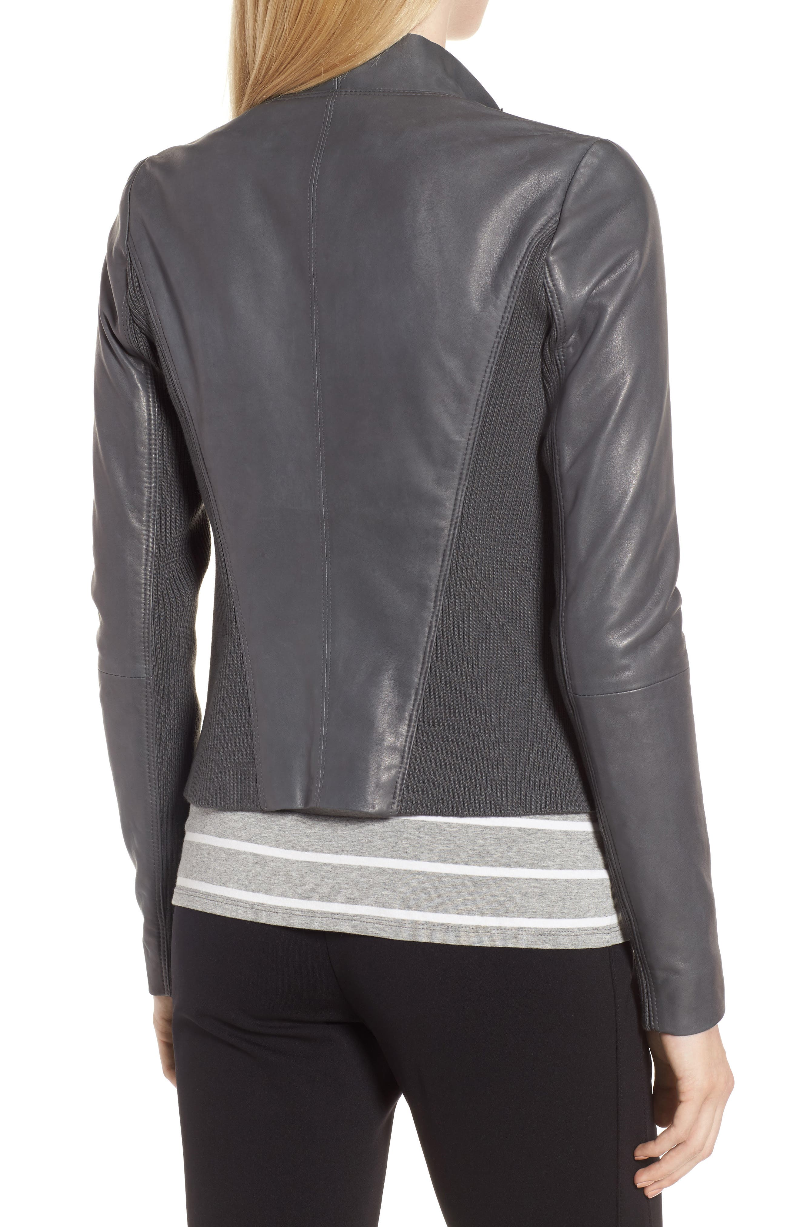 Cascade Front Leather Jacket,                             Alternate thumbnail 2, color,                             021
