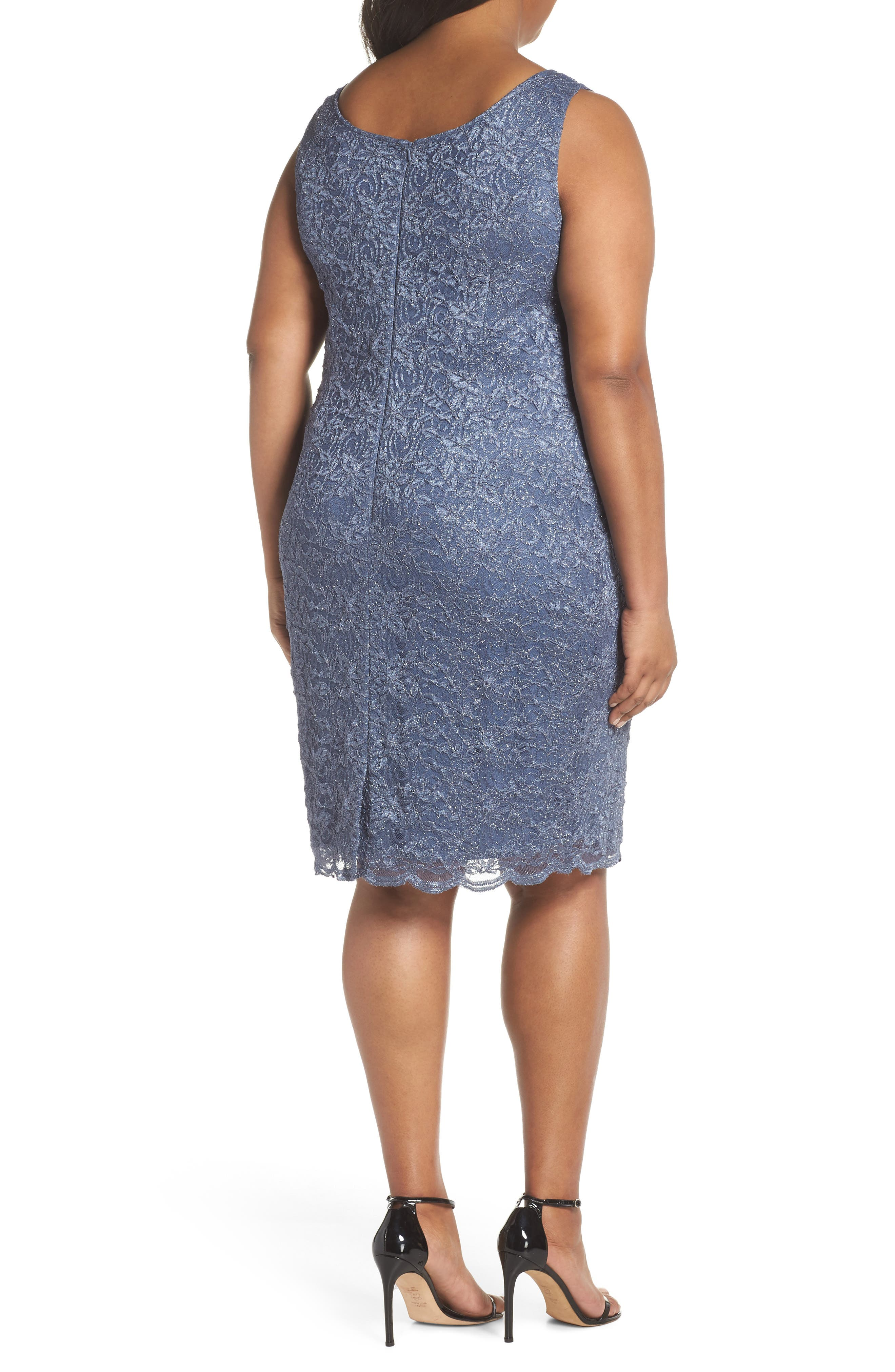 Lace Sheath Dress with Jacket,                             Alternate thumbnail 4, color,                             GREY