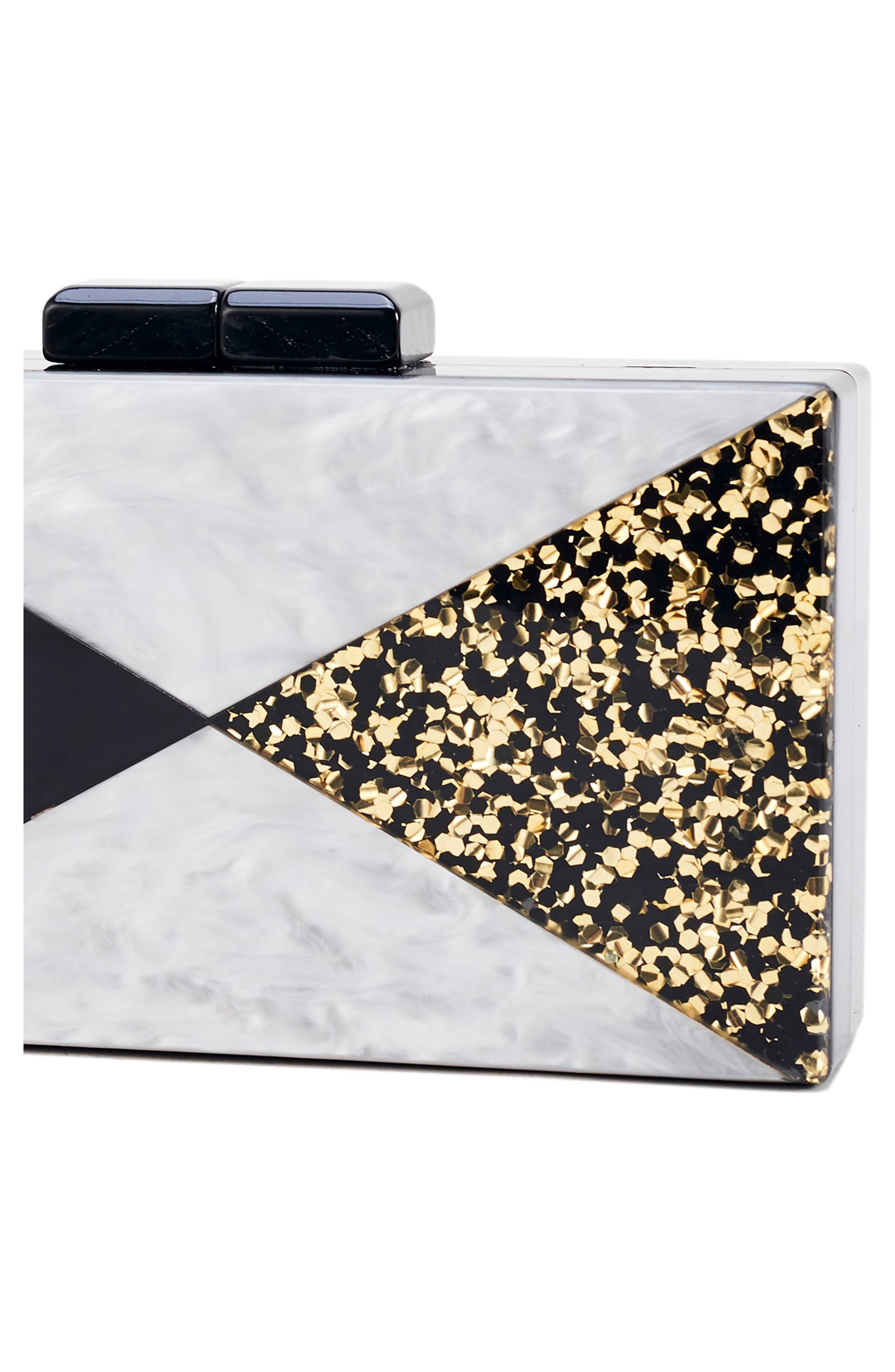 Glitter & Faux Marble Box Clutch,                             Alternate thumbnail 4, color,                             BLACK/ SILVER