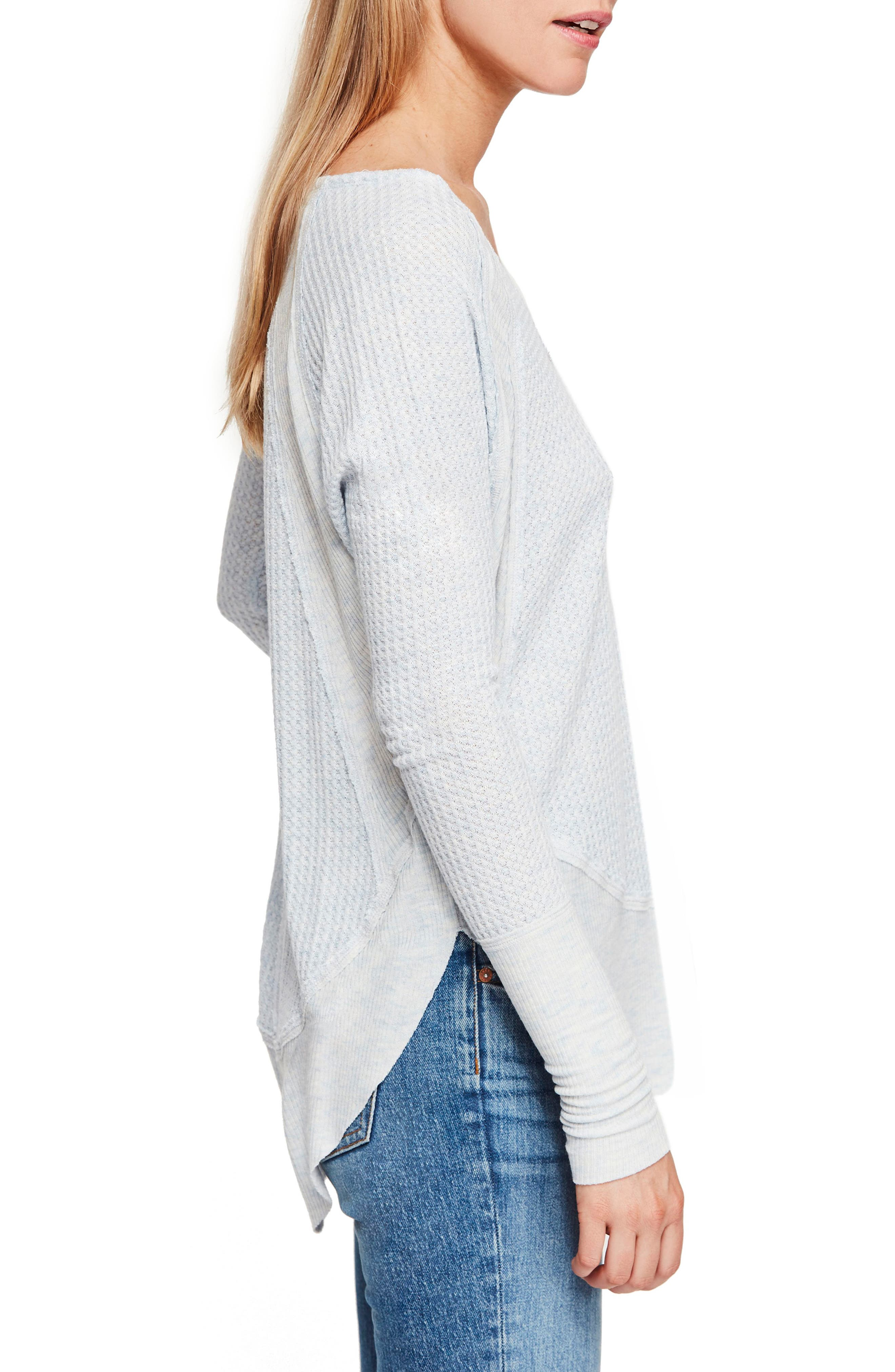 FREE PEOPLE,                             We the Free by Free People Catalina V-Neck Thermal Top,                             Alternate thumbnail 3, color,                             SKY