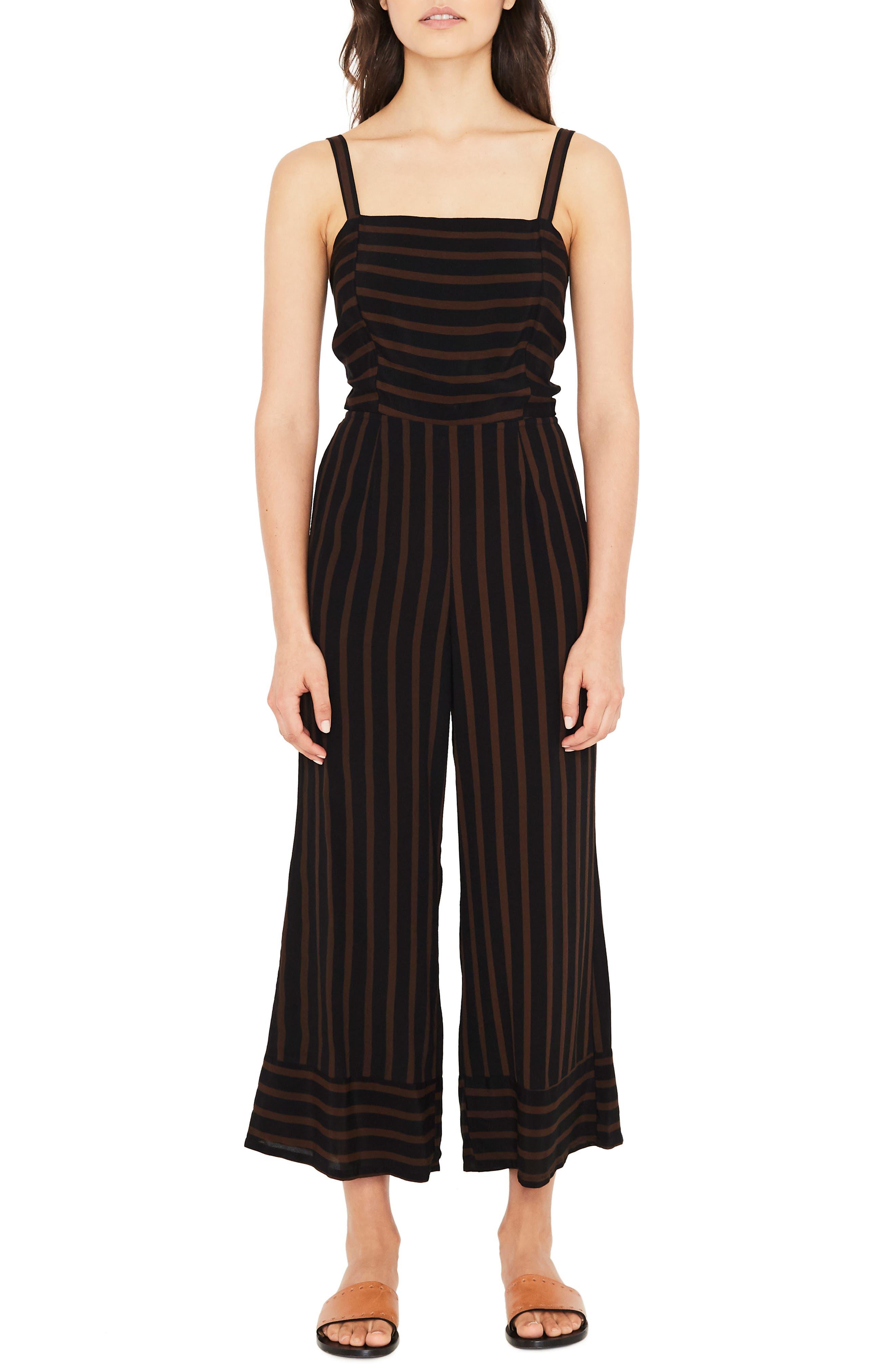 Guanabo Tie Back Stripe Jumpsuit,                         Main,                         color, MAZUR STRIPE - ESPRESSO