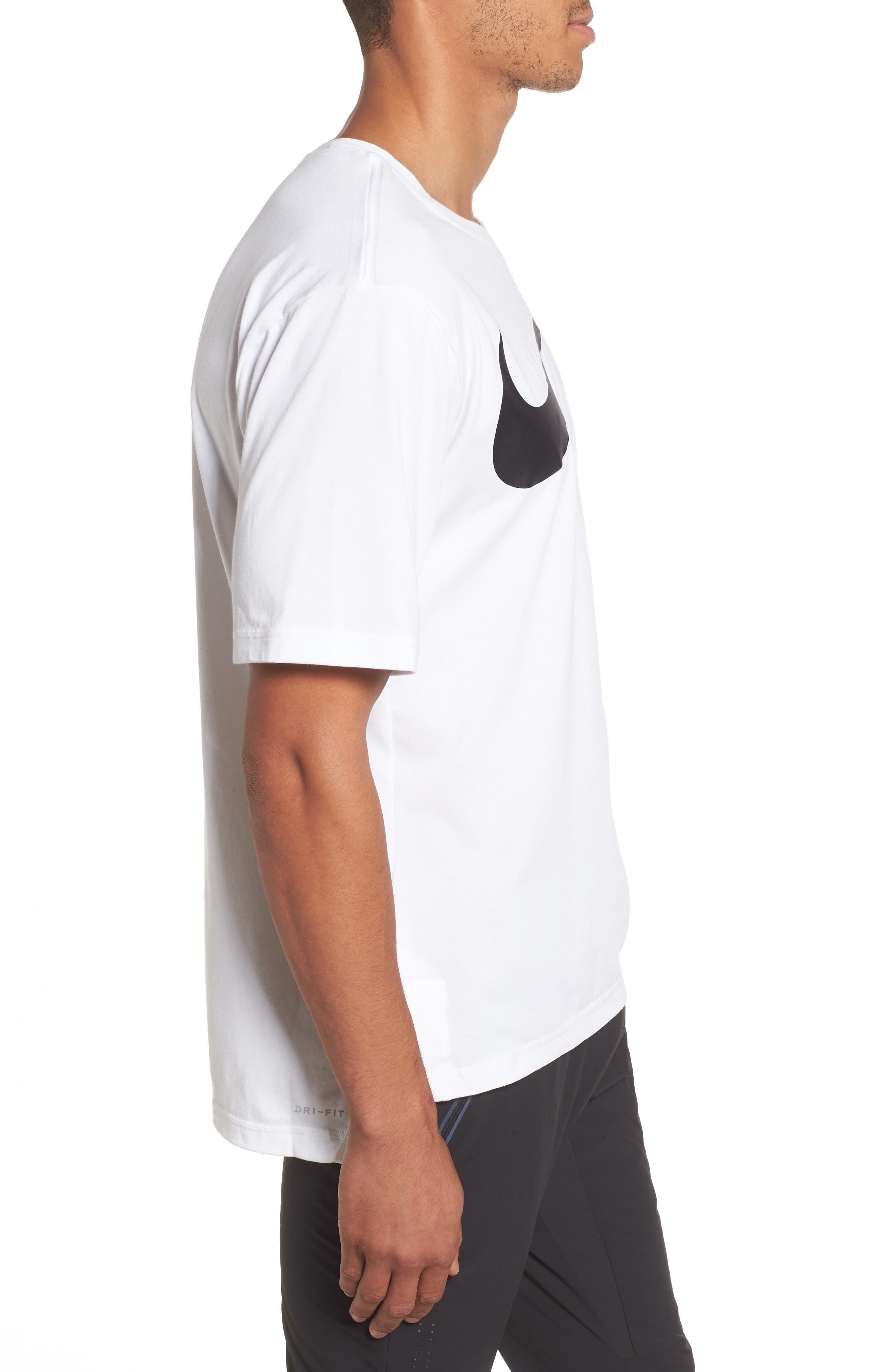 NIKE,                             Dry Performance T-Shirt,                             Alternate thumbnail 3, color,                             WHITE/ BLACK