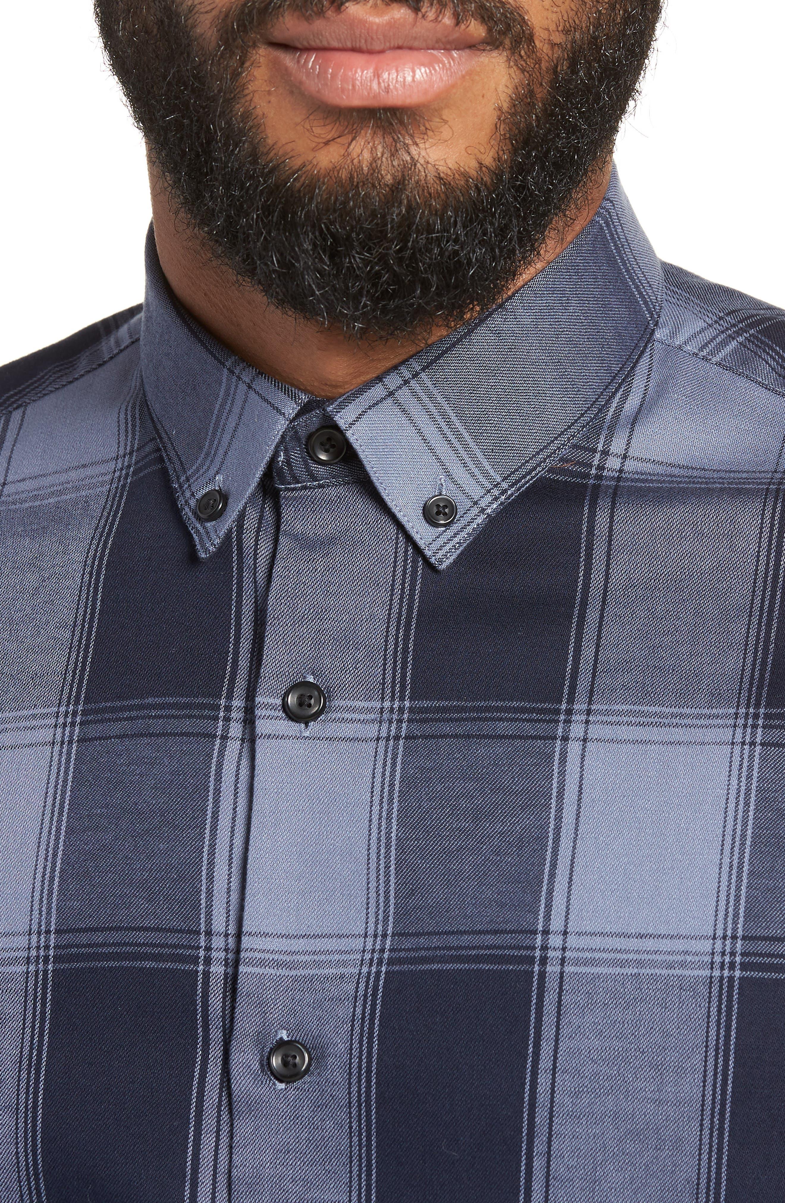 Slim Fit Mini Collar Buffalo Check Flannel Sport Shirt,                             Alternate thumbnail 4, color,                             GREY FOLKSTONE NAVY BUFFALO