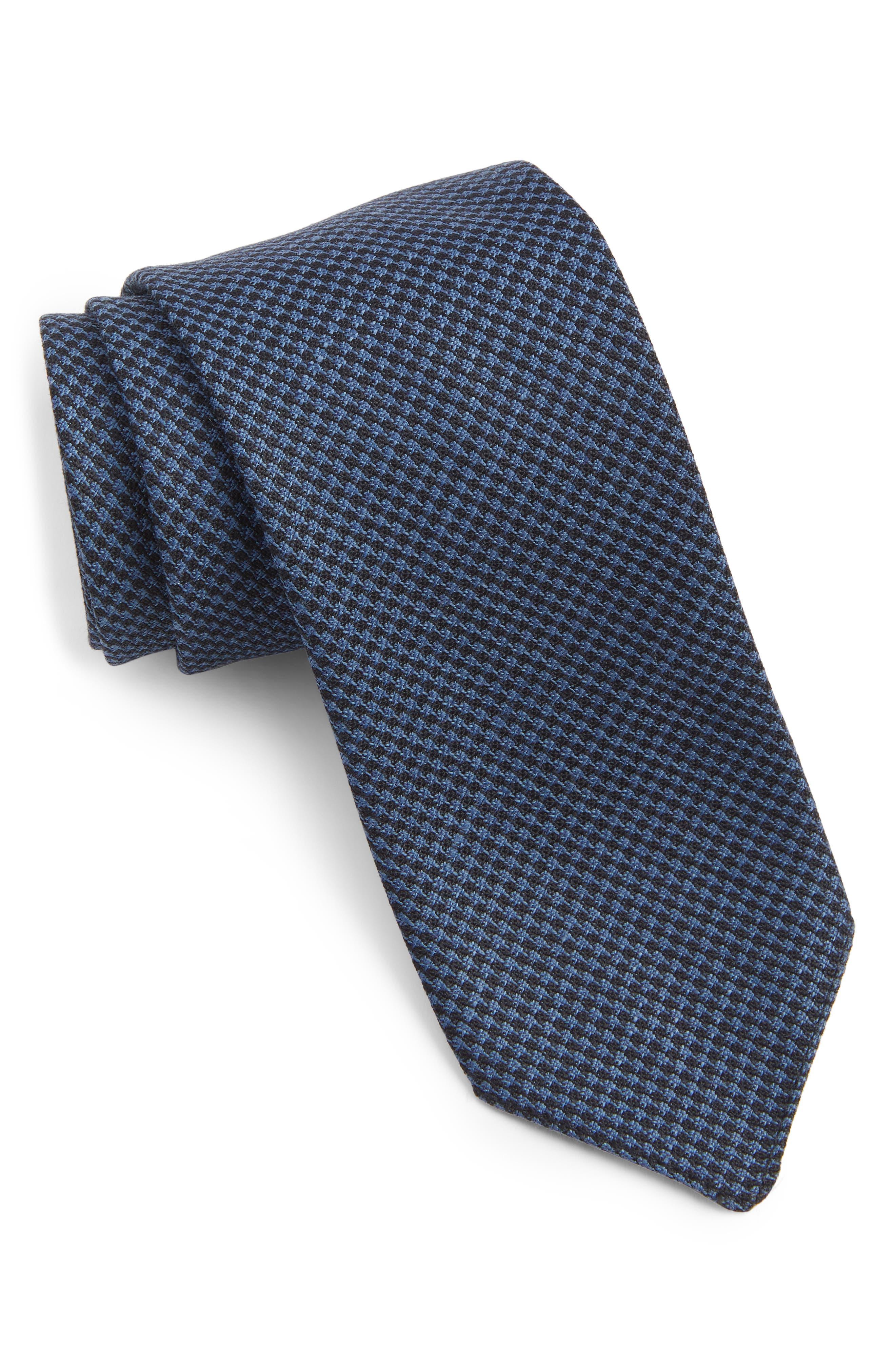 Grid Wool & Linen Tie,                         Main,                         color, LIGHT BLUE
