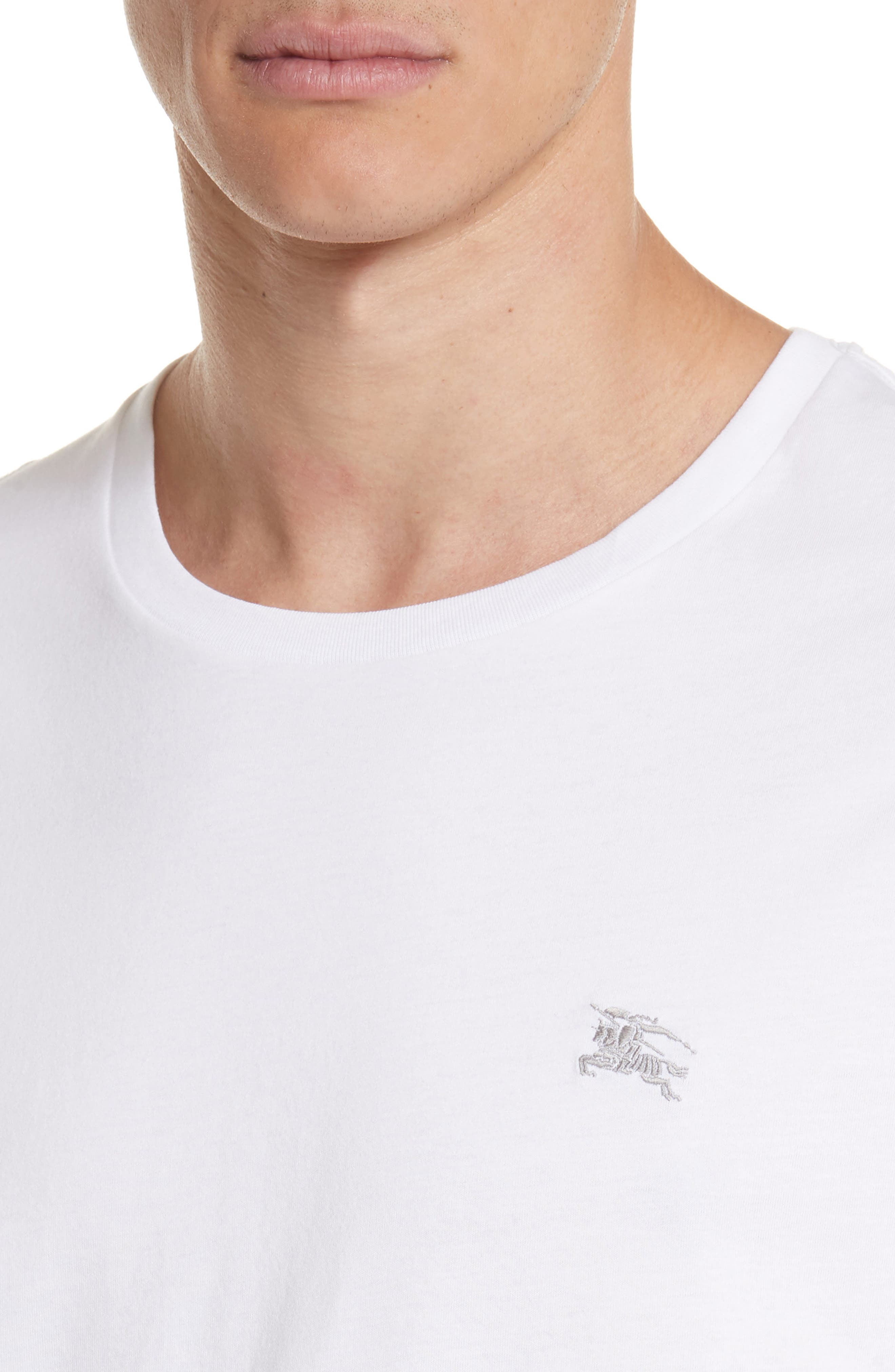 Logo Embroidered Crewneck T-shirt.,                             Alternate thumbnail 4, color,                             WHITE