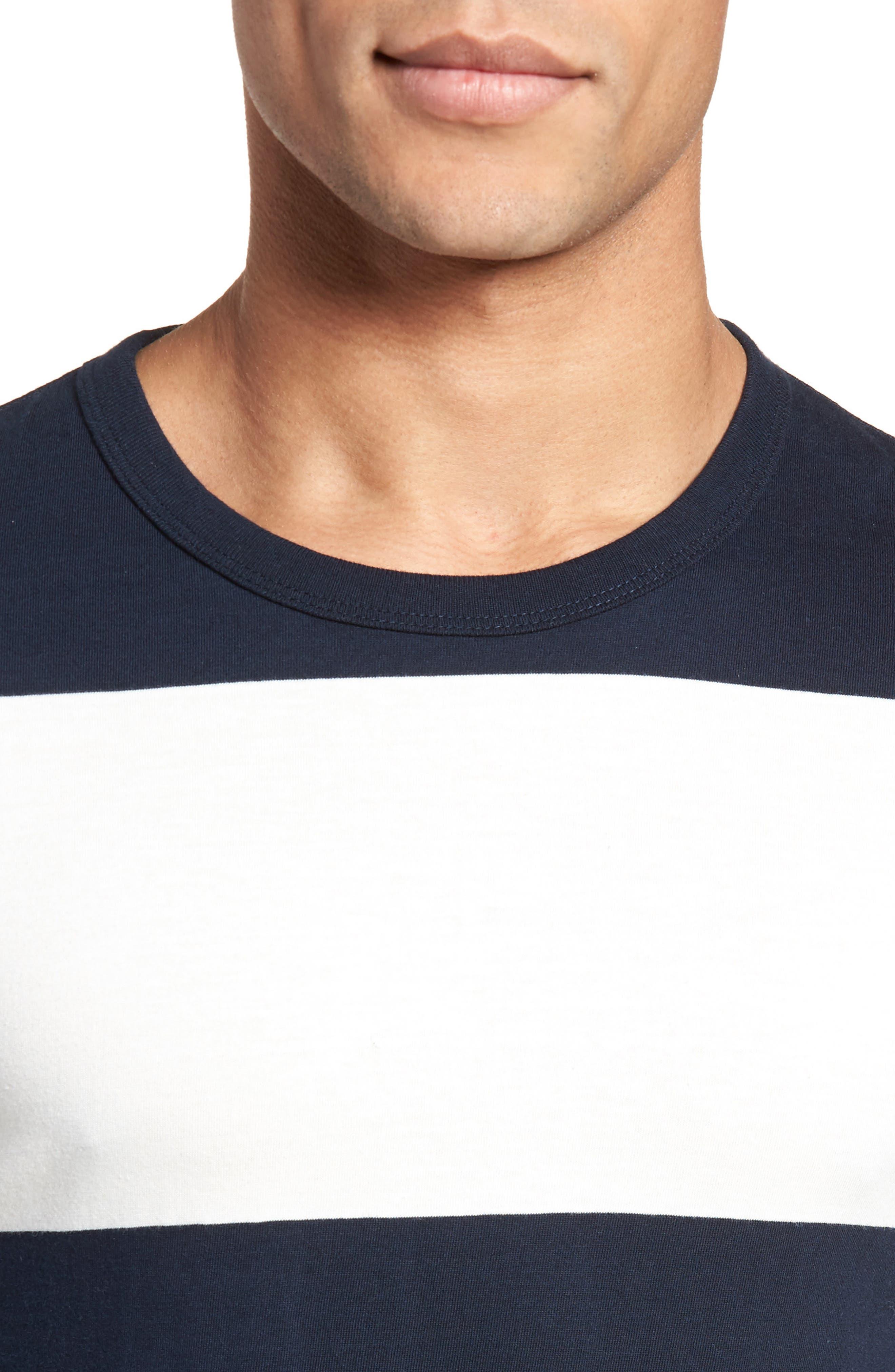 Regular Fit Block Stripe Shirt,                             Alternate thumbnail 4, color,                             100