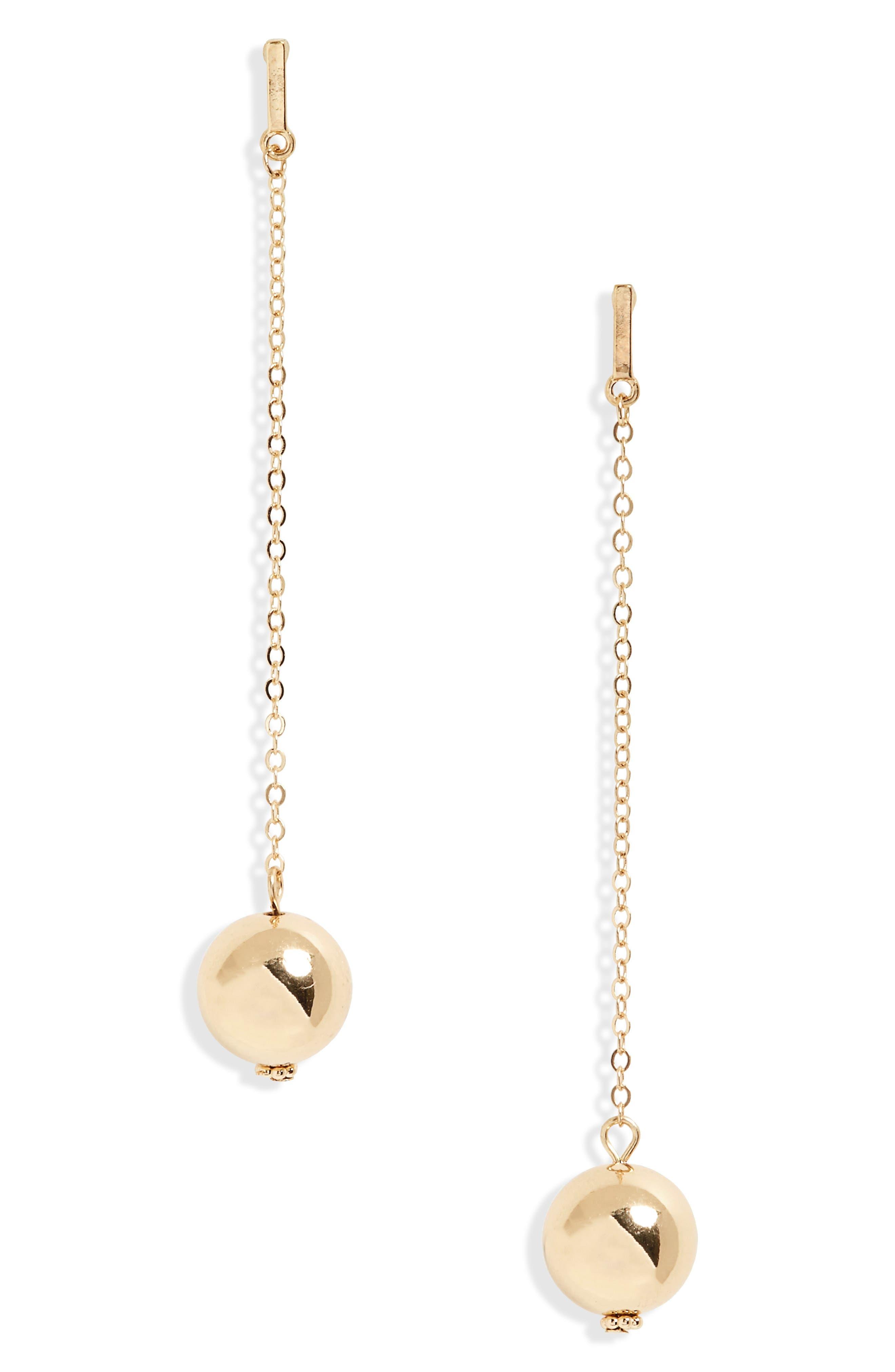 Chain & Ball Drop Earrings,                             Main thumbnail 1, color,                             710