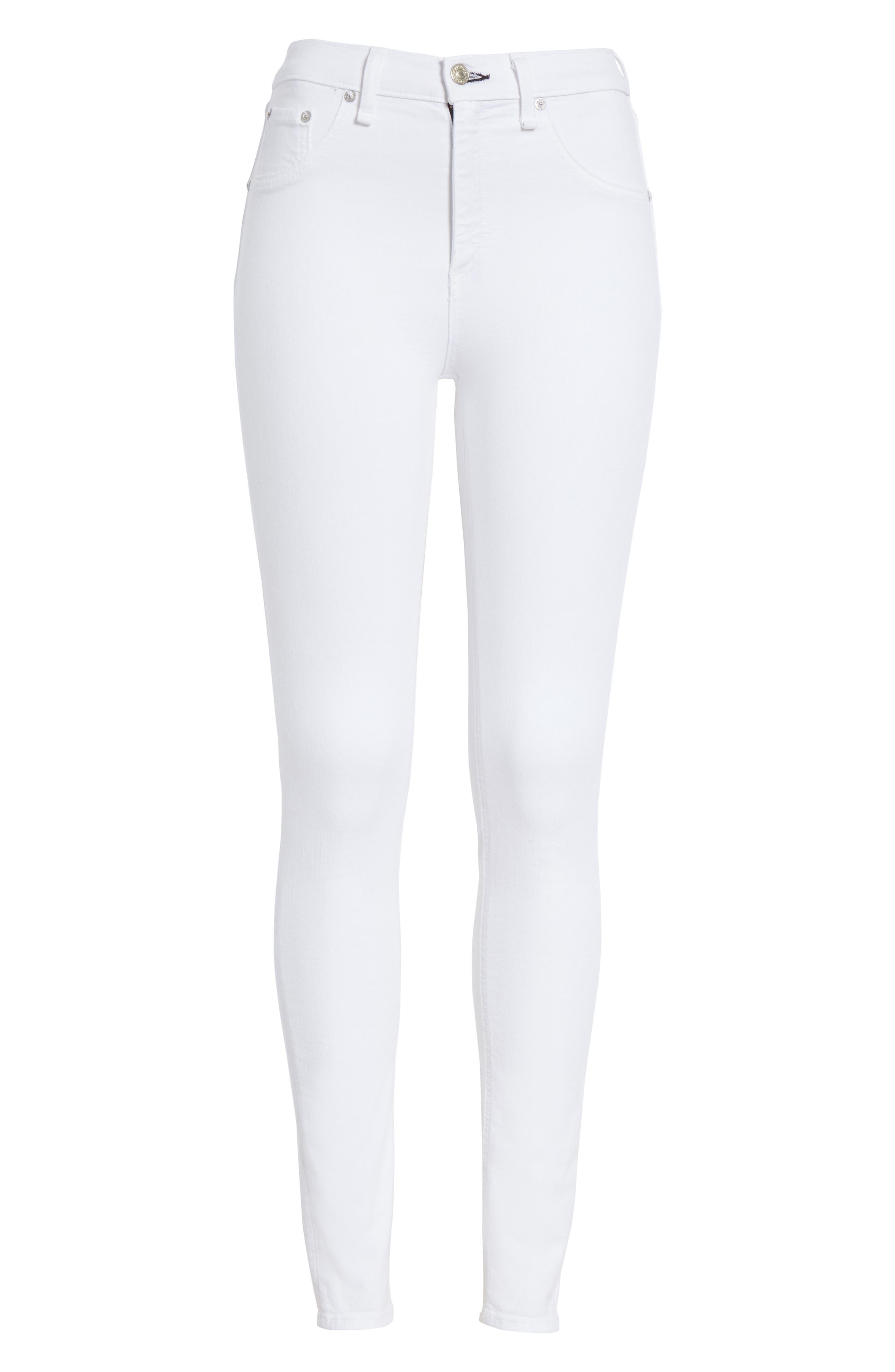 High Waist Skinny Jeans,                             Alternate thumbnail 7, color,                             BLANC