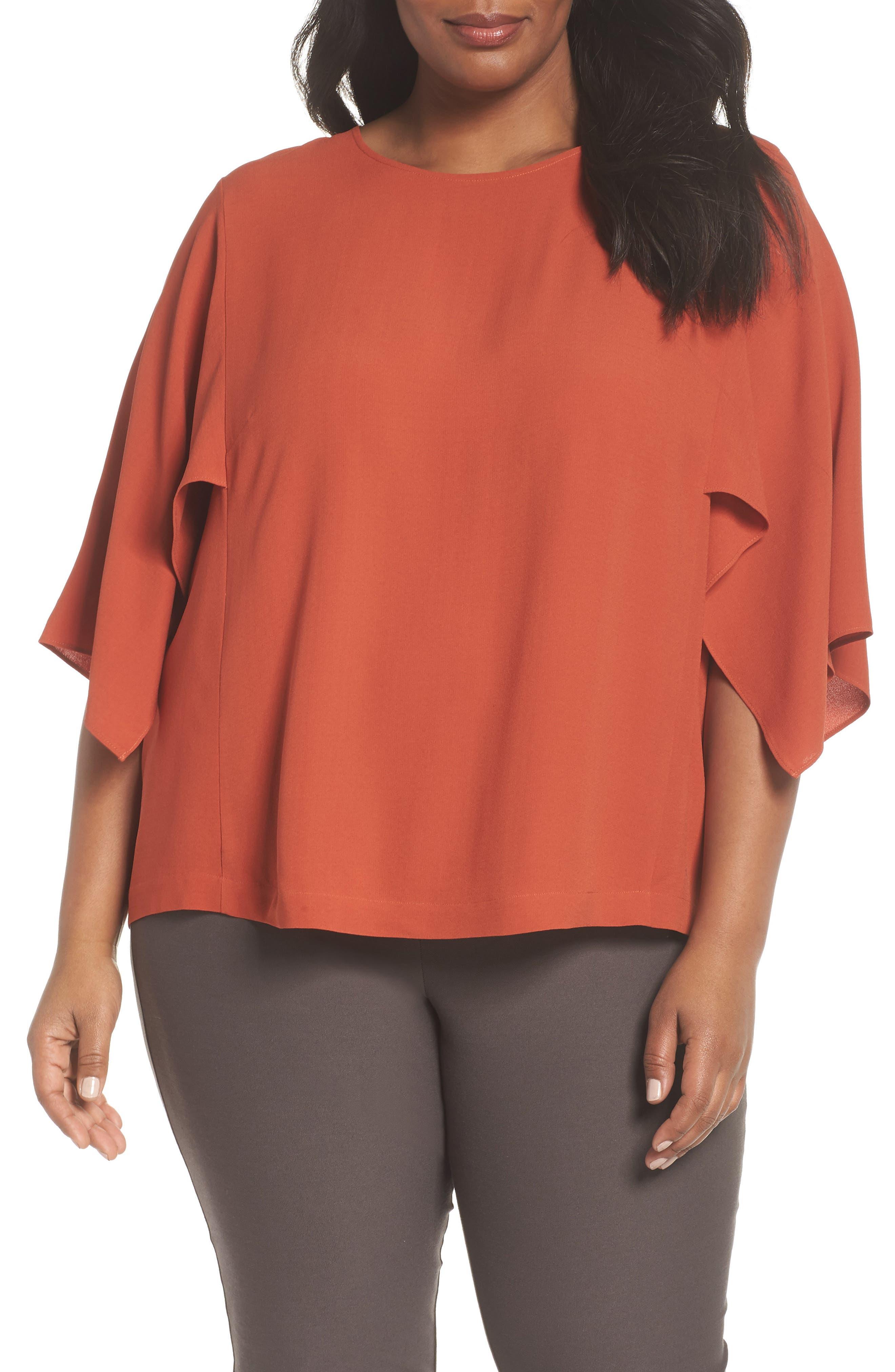 Slit Sleeve Silk Top,                         Main,                         color, ORANGE PEKOE