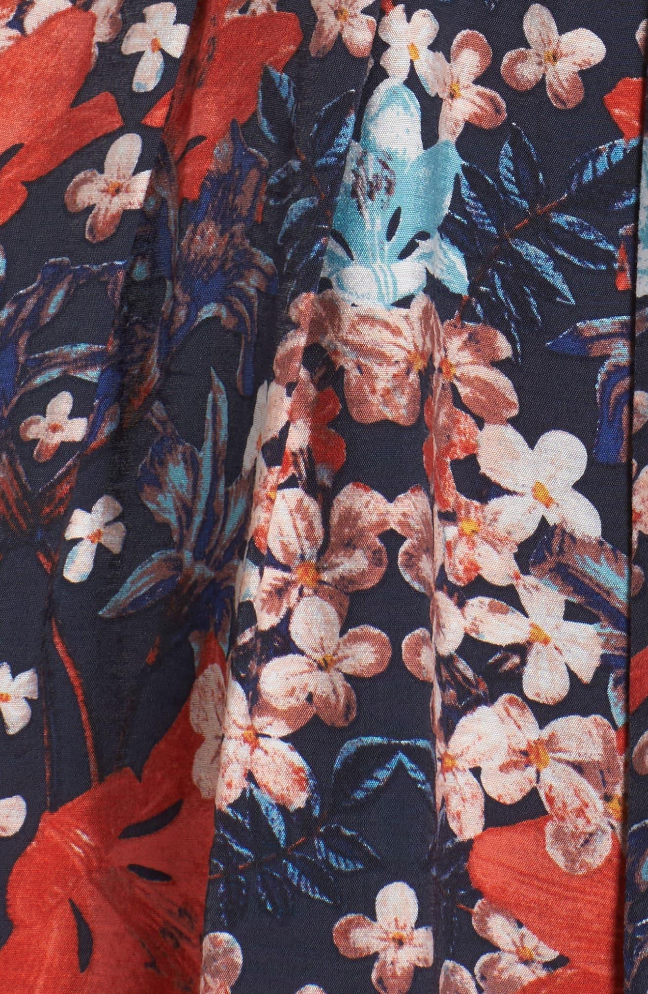 Linenette Fit & Flare Dress,                             Alternate thumbnail 5, color,                             480