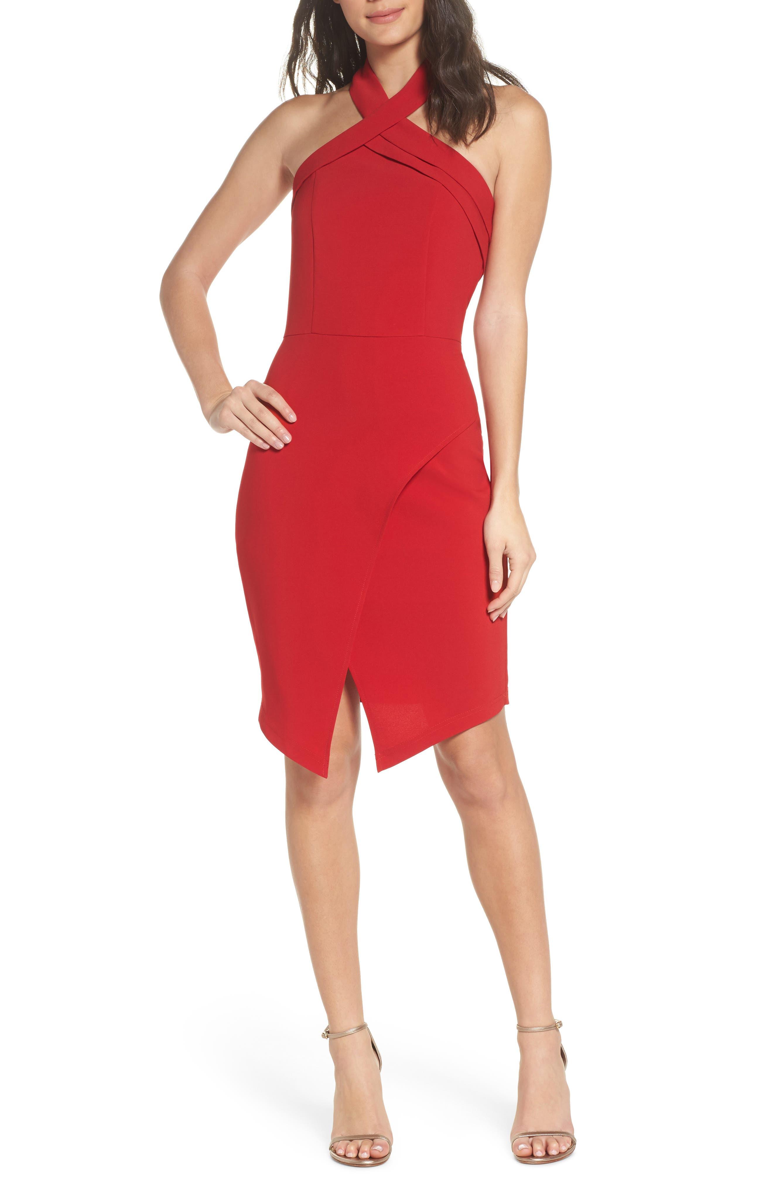 Halter Asymmetrical Sheath Dress,                         Main,                         color, 600