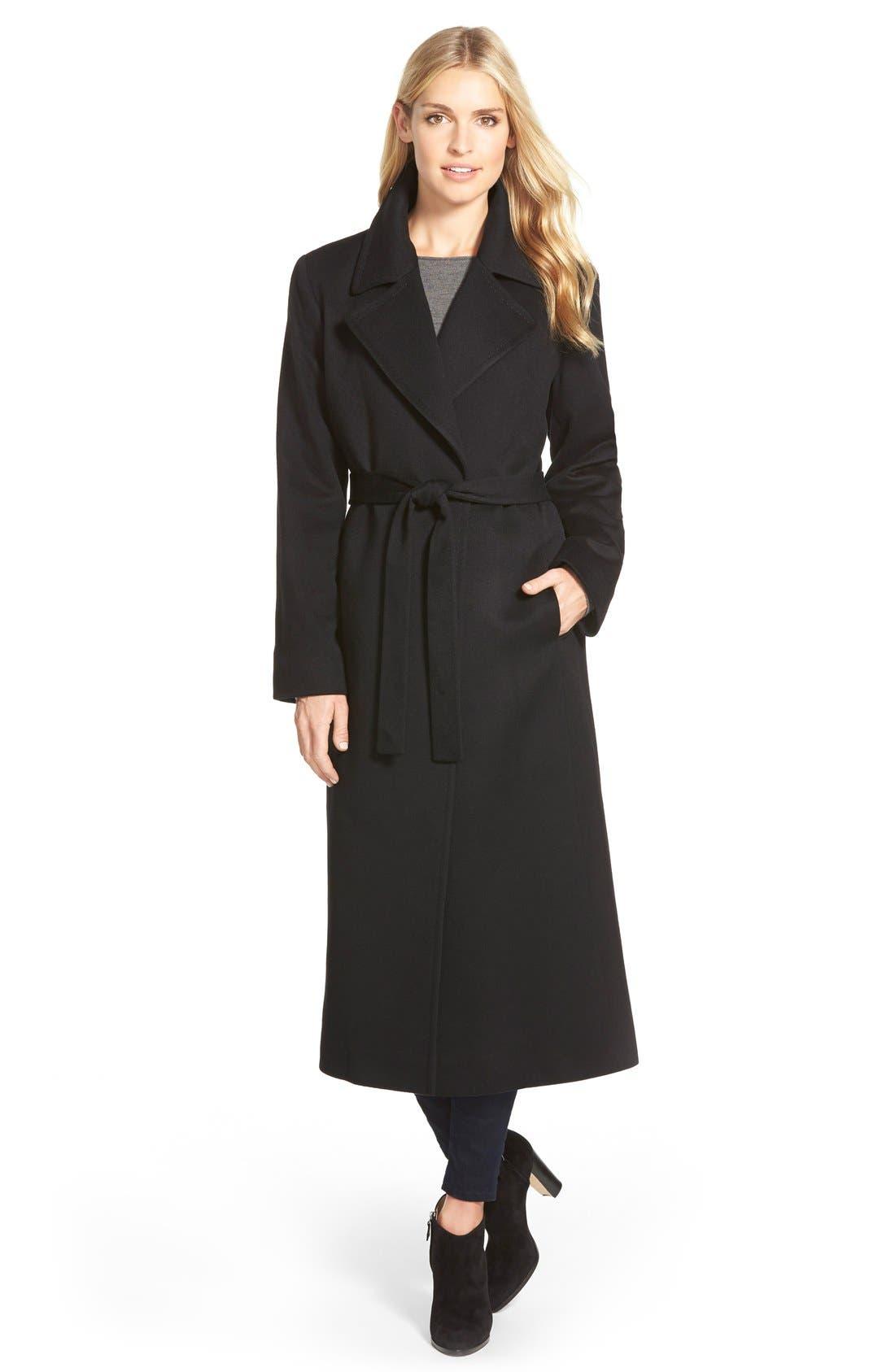 Notch Collar Long Cashmere Wrap Coat,                         Main,                         color, 001
