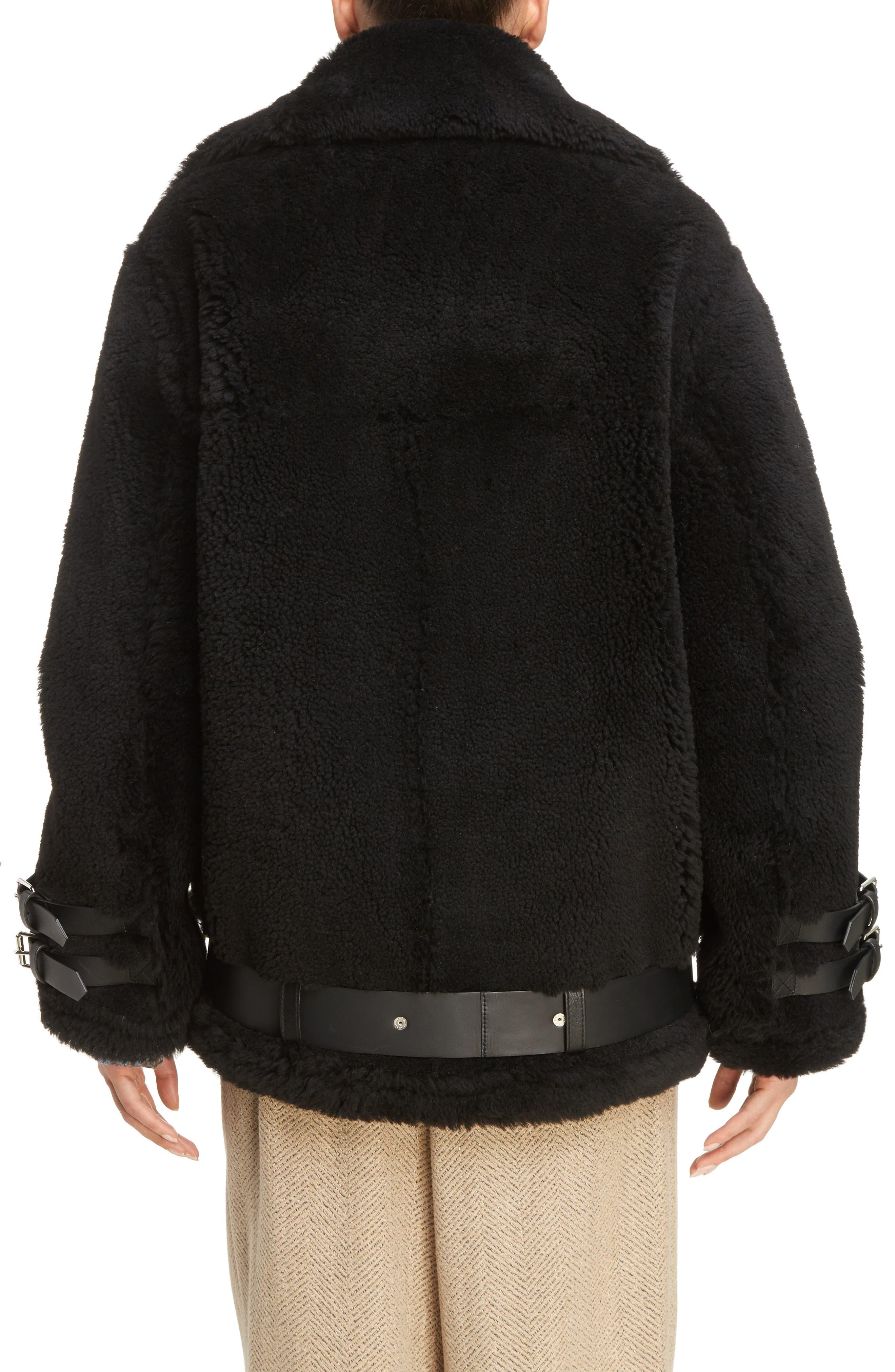 Velocite Genuine Shearling Oversize Moto Jacket,                             Alternate thumbnail 2, color,                             001
