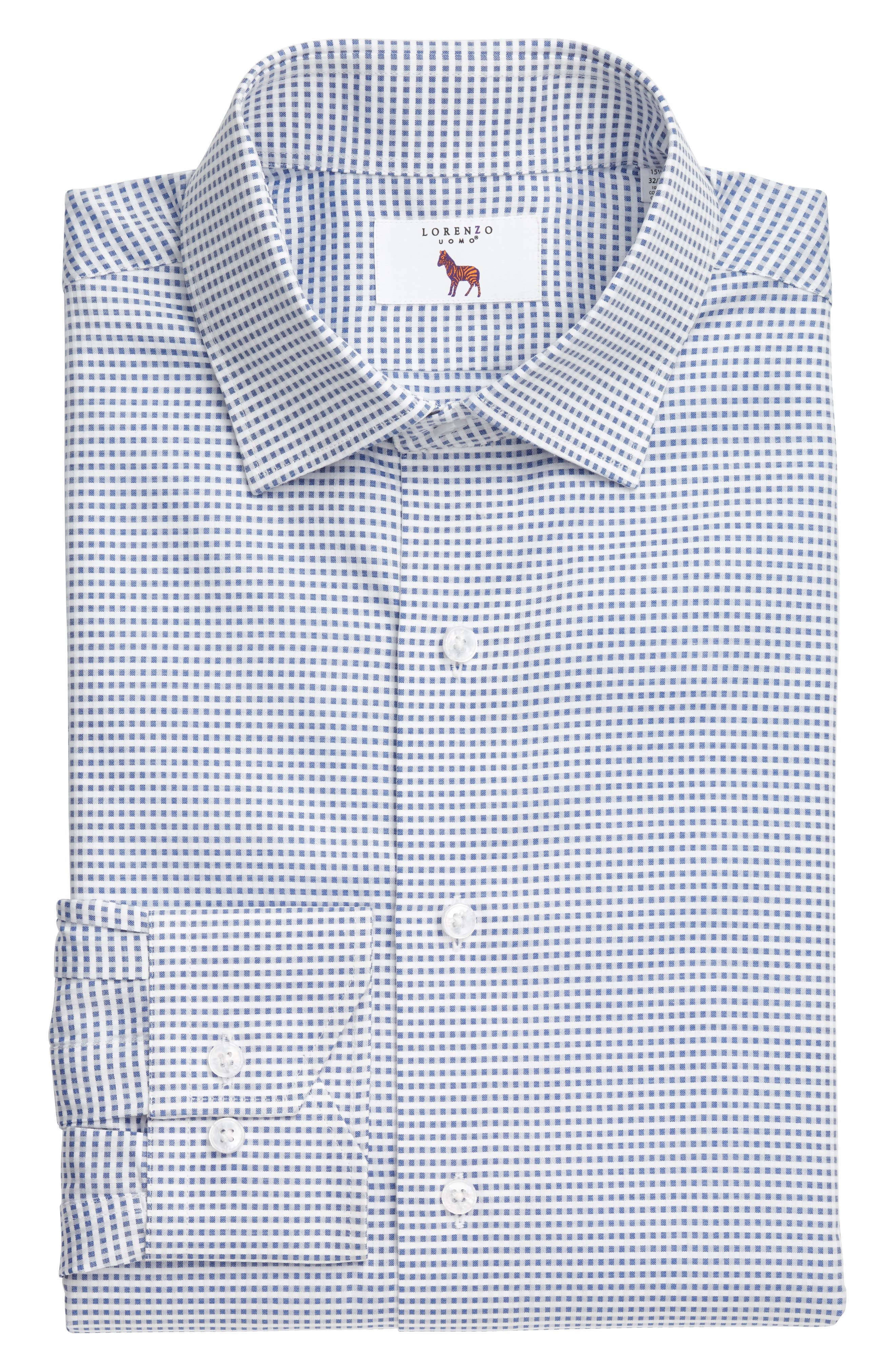 Trim Fit Check Dress Shirt,                             Alternate thumbnail 3, color,                             420