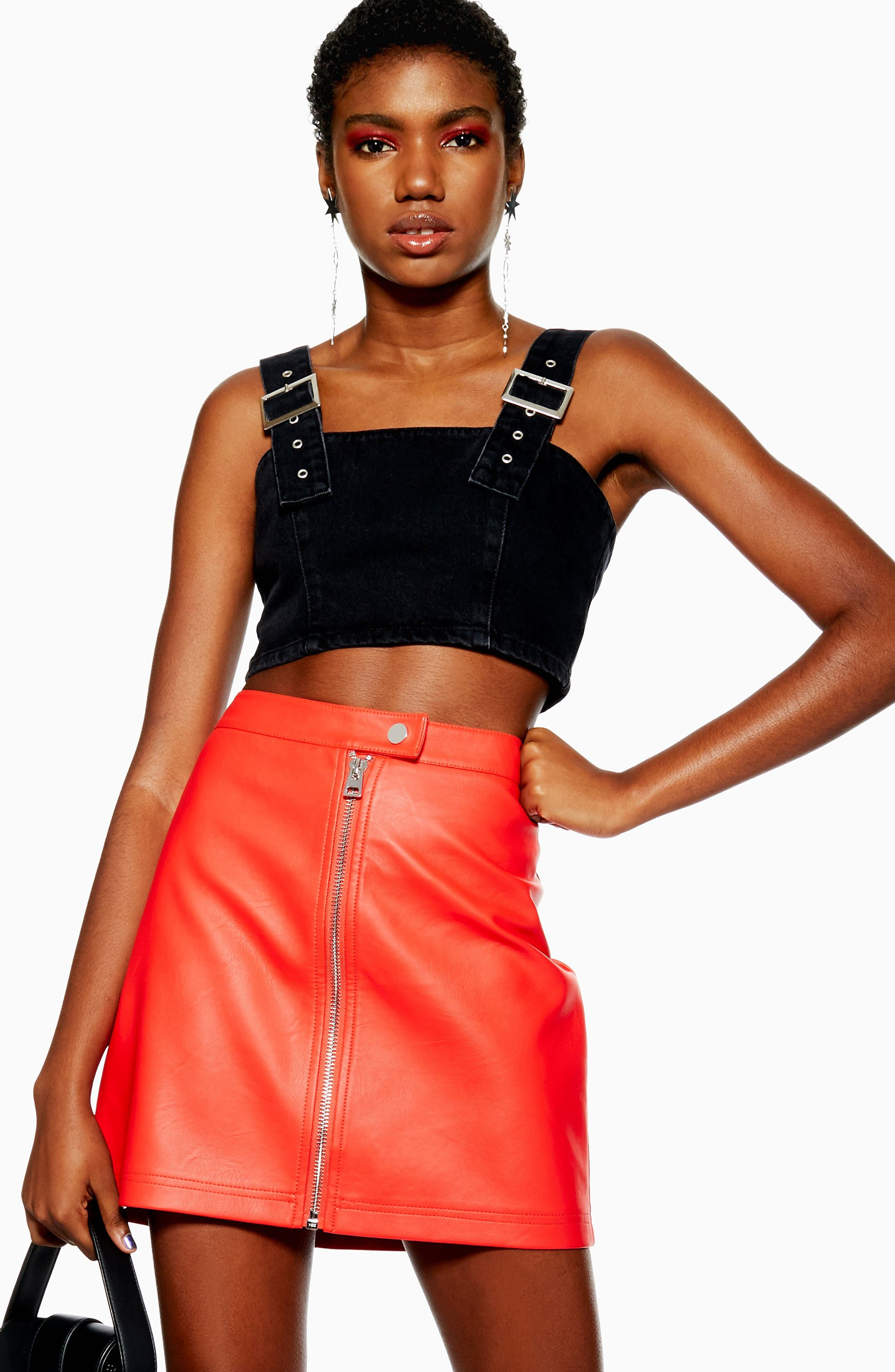Penelope Faux Leather Miniskirt,                             Alternate thumbnail 4, color,                             RED