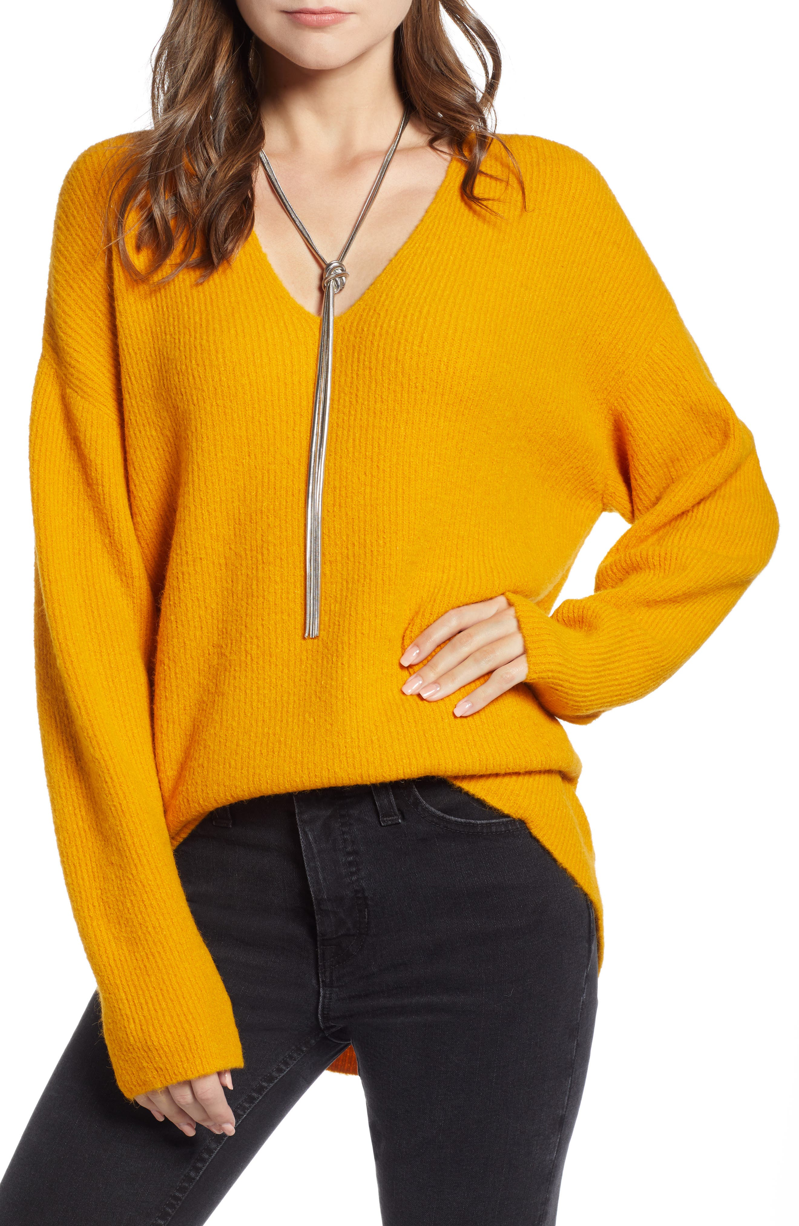 Low Neckline Slouchy Pullover,                             Main thumbnail 1, color,                             ORANGE RAY