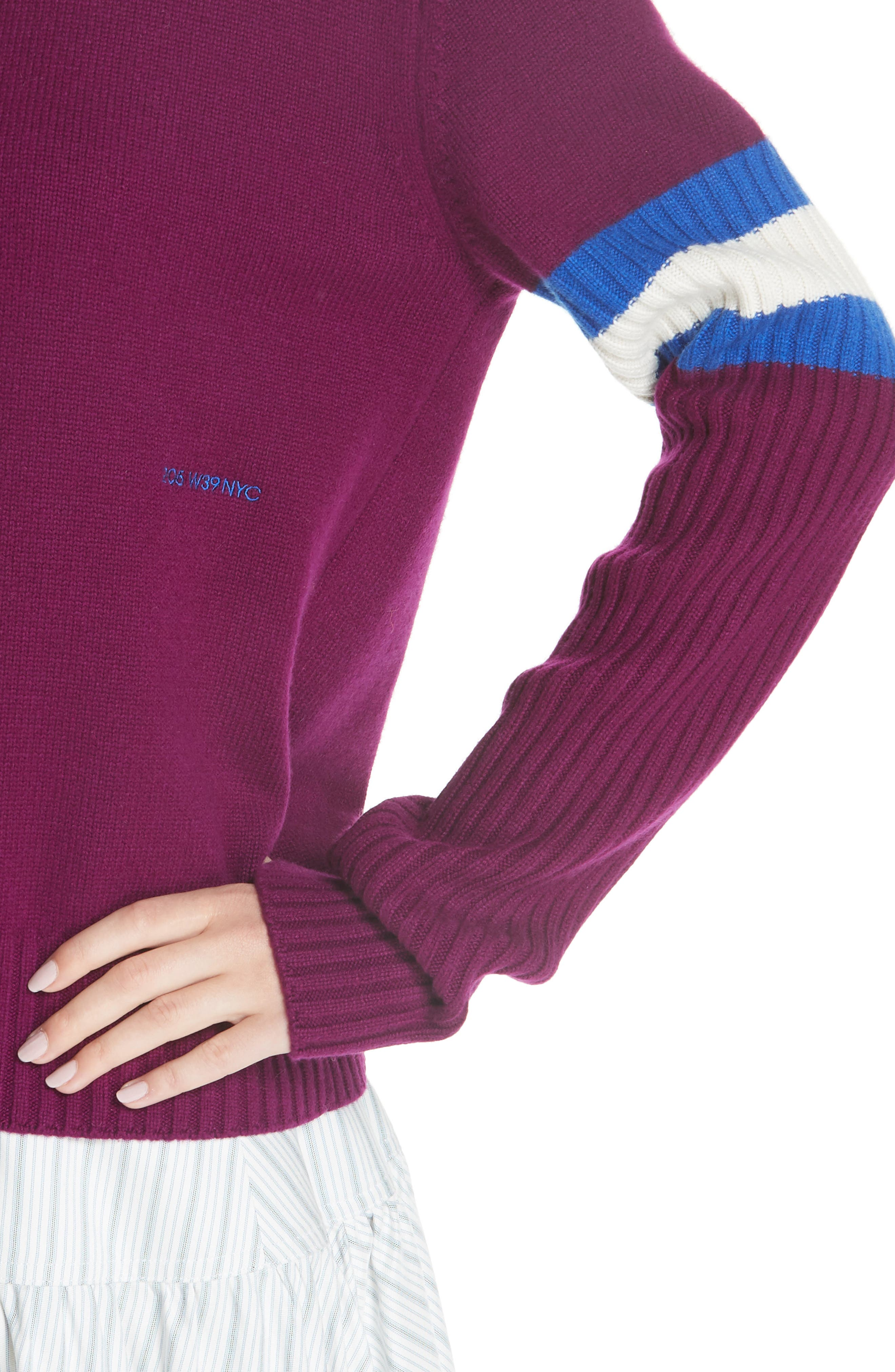 Cashmere Stripe Sleeve Sweater,                             Alternate thumbnail 4, color,                             DEEP PURPLE BRIGHT BLUE WHITE
