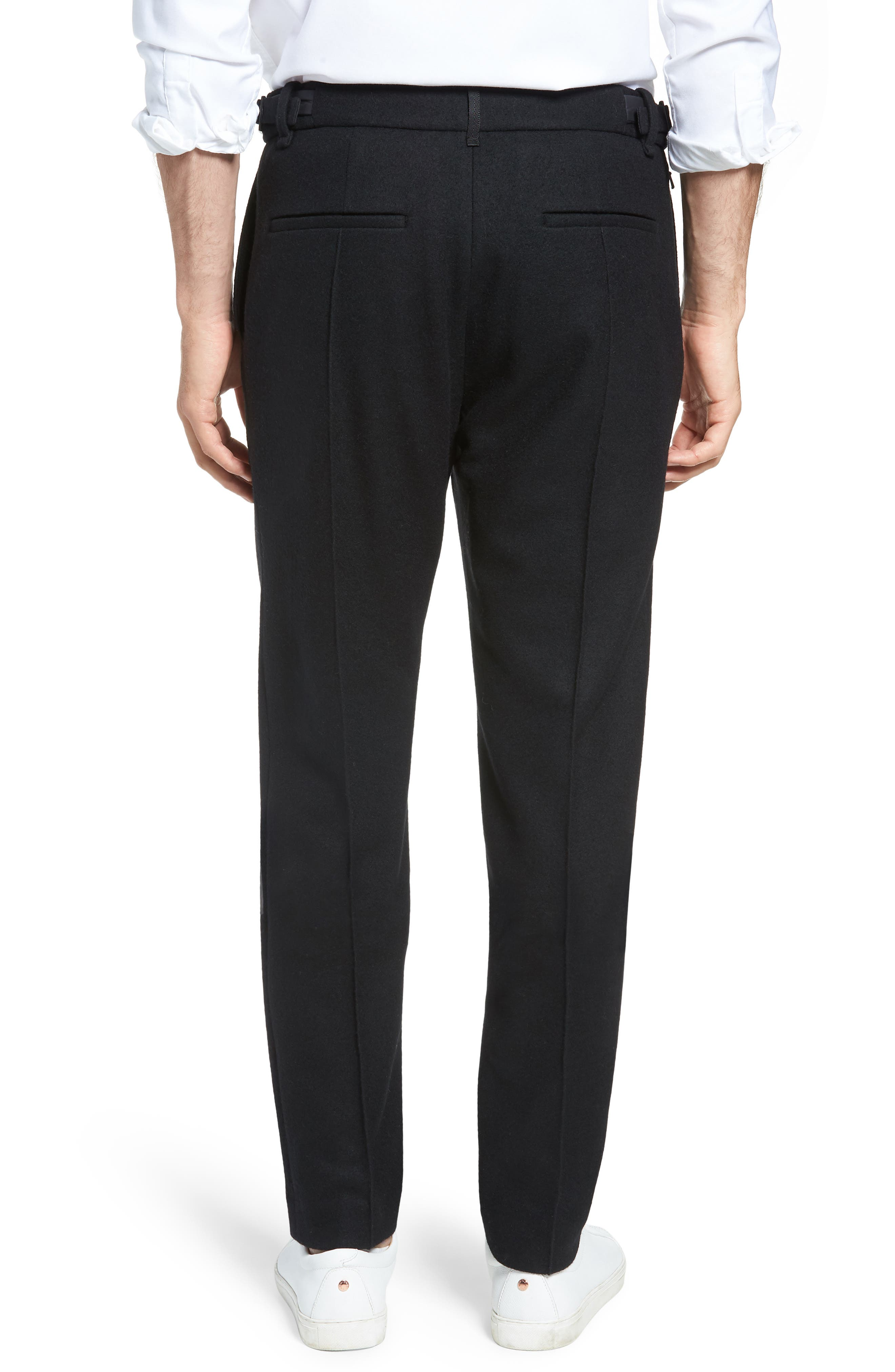 Sector Slim Fit Wool Jersey Pants,                             Alternate thumbnail 2, color,                             BLACK
