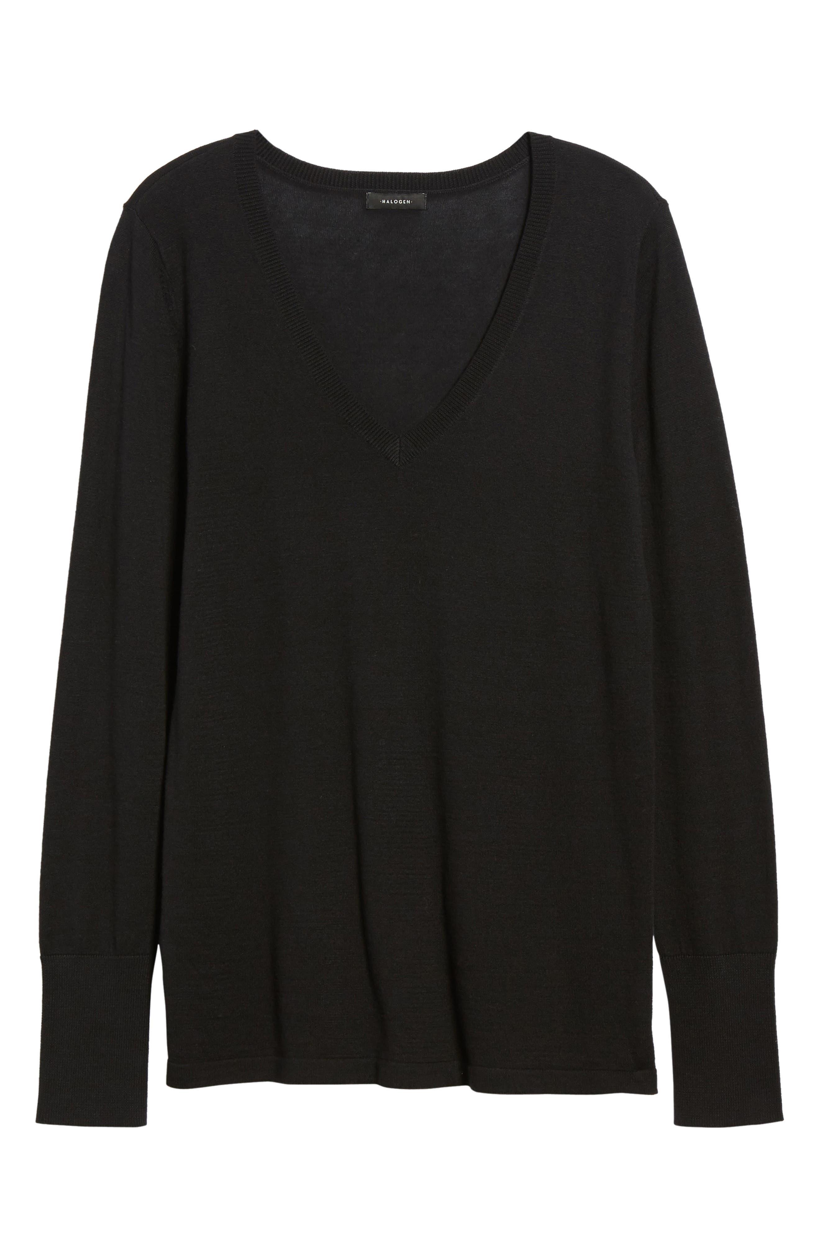 Cotton Blend V-Neck Sweater,                             Alternate thumbnail 7, color,                             001