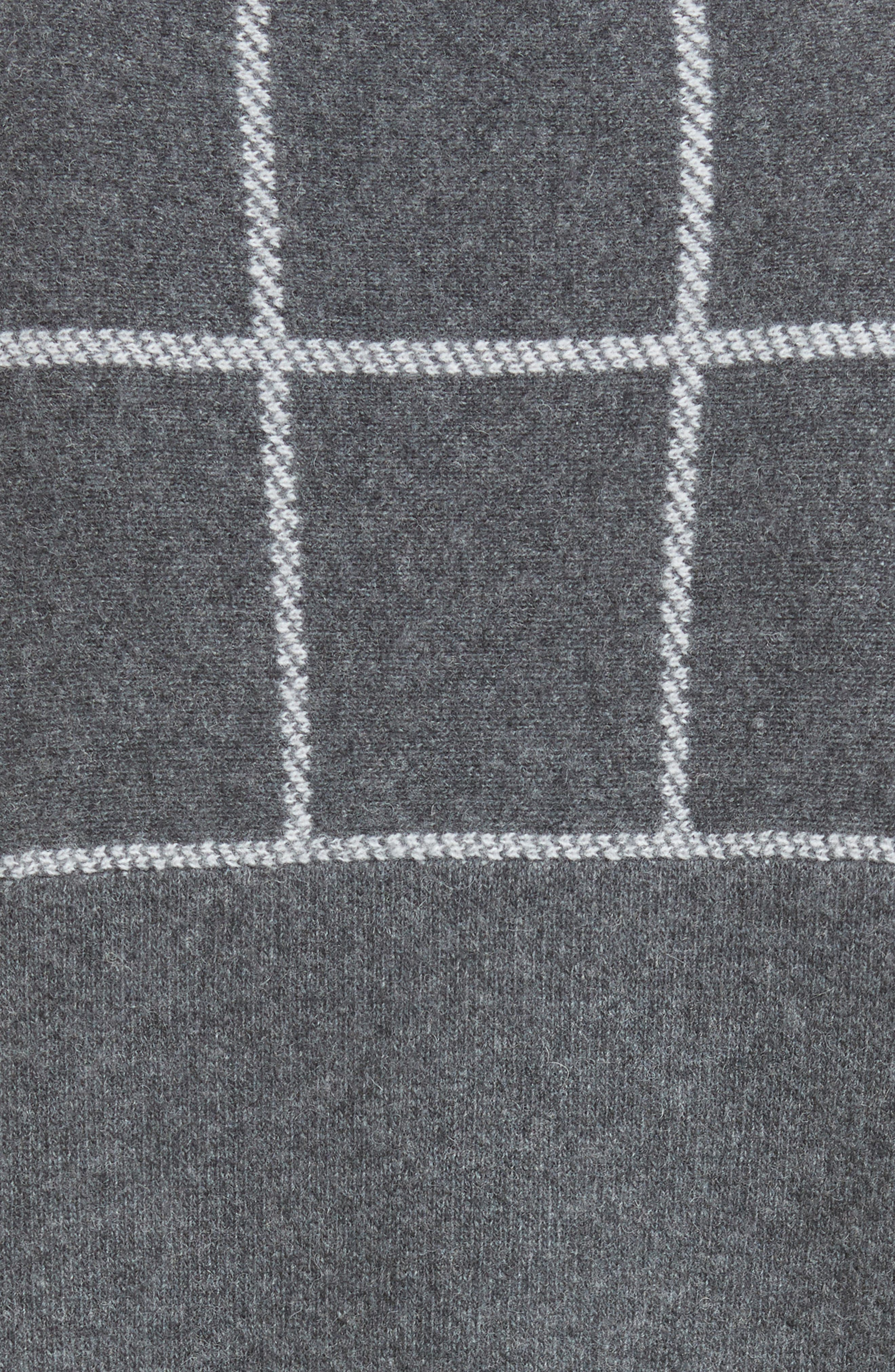 Leather Trim Windowpane Felted Wool Blend Cardigan,                             Alternate thumbnail 5, color,                             030