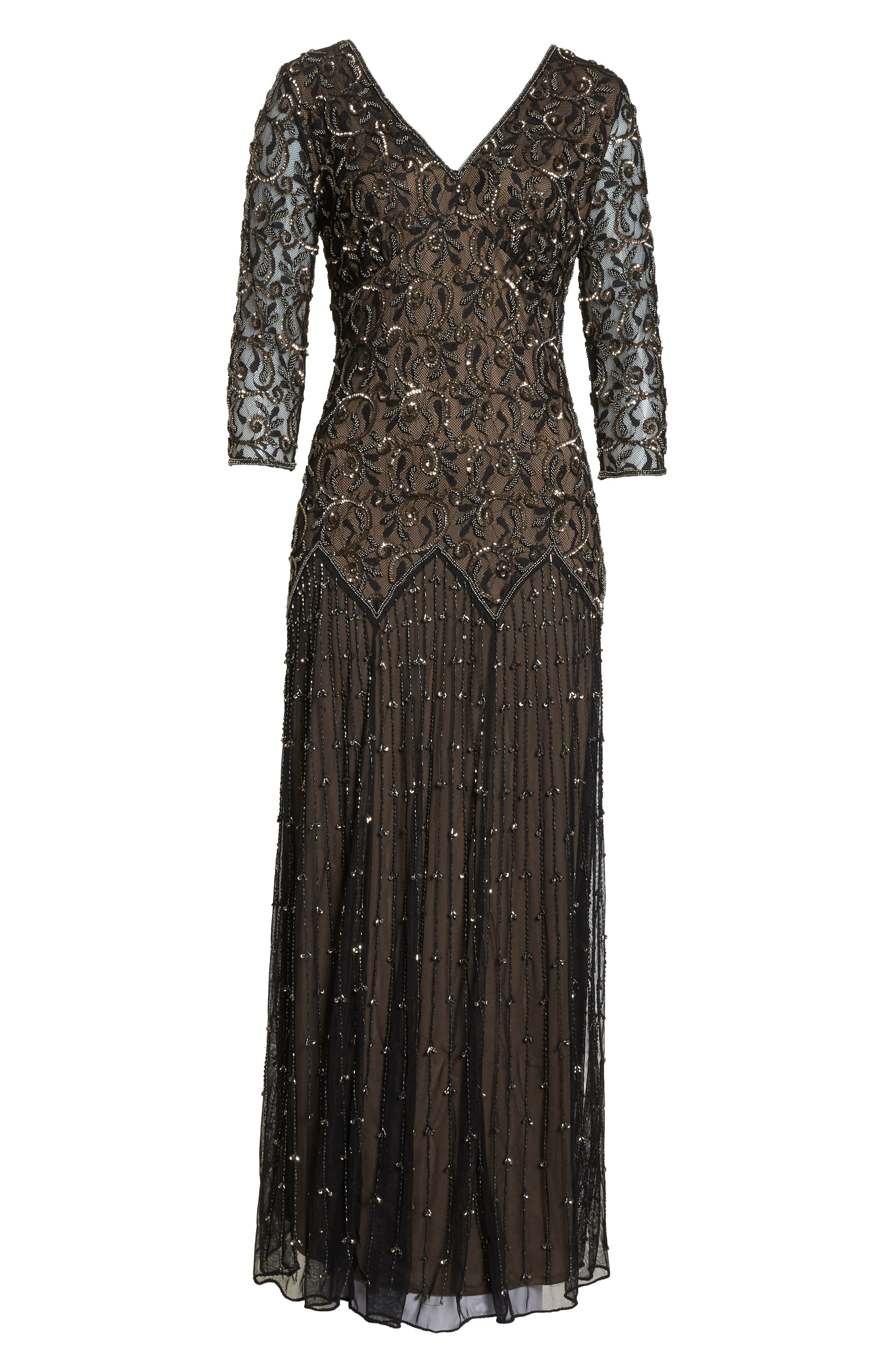 Embellished Mesh Gown,                             Alternate thumbnail 7, color,                             BLACK