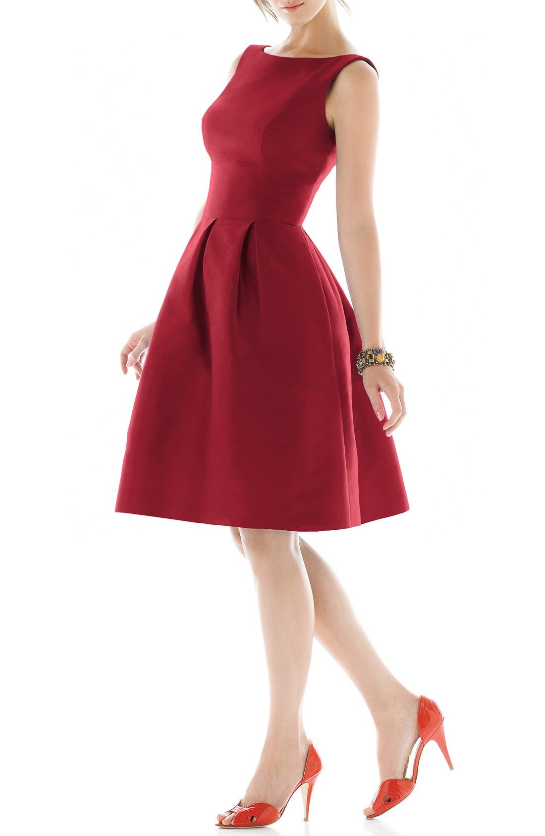 Dupioni Fit & Flare Dress,                             Main thumbnail 11, color,
