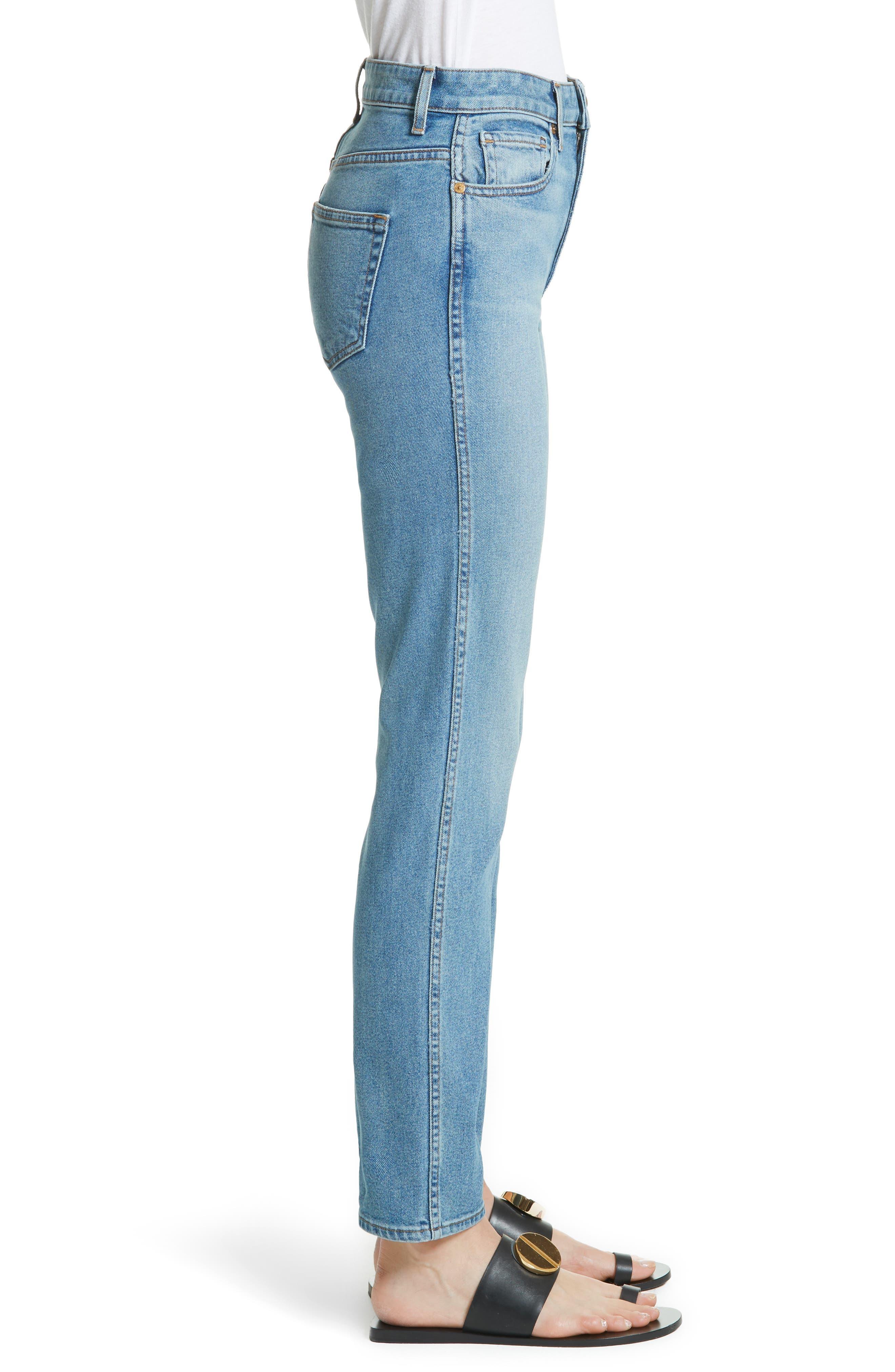 Victoria Straight Leg Jeans,                             Alternate thumbnail 3, color,                             MEDIUM CREASE