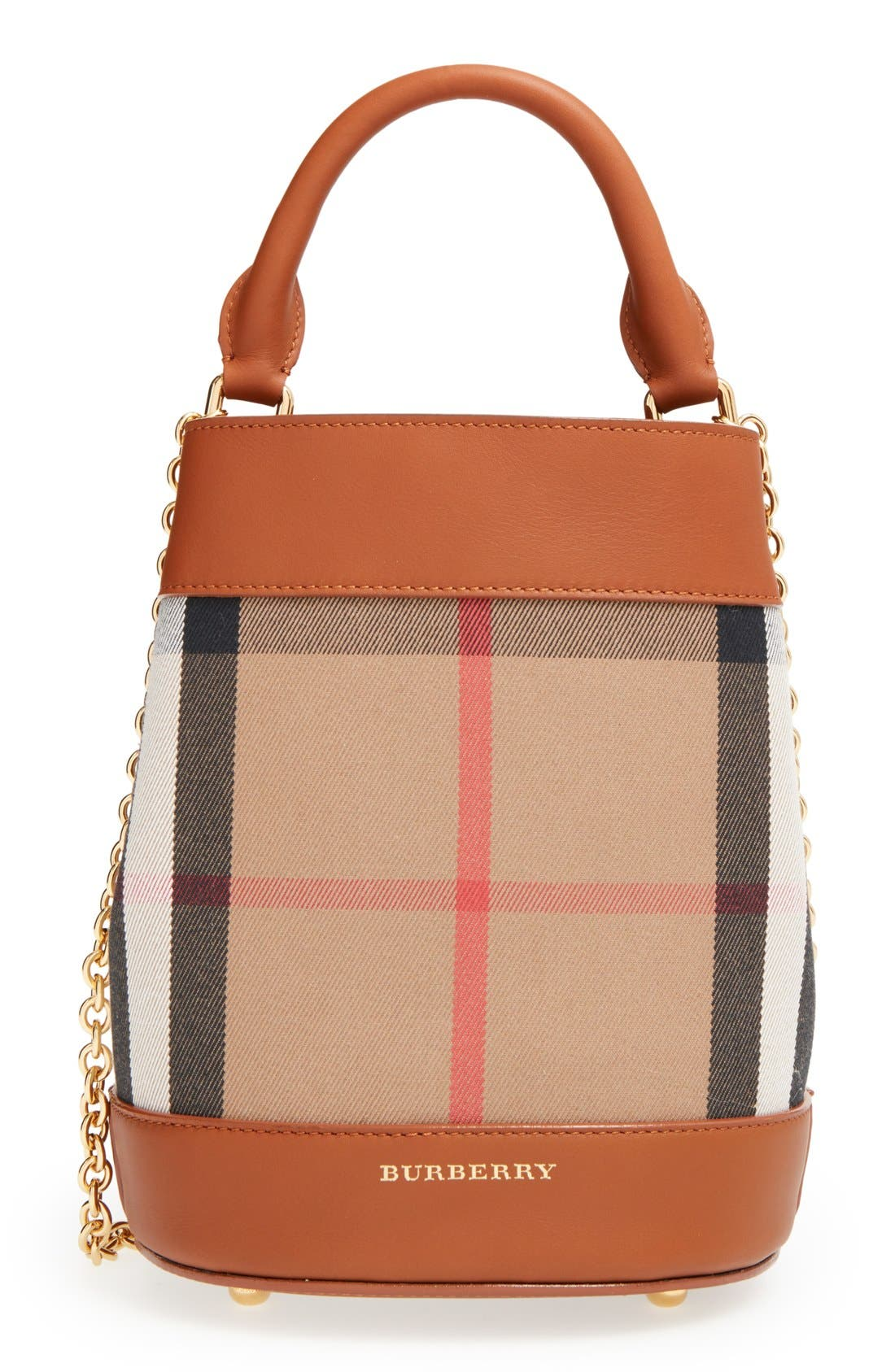 'Mini House Check' Bucket Bag - Brown in Light Toffee