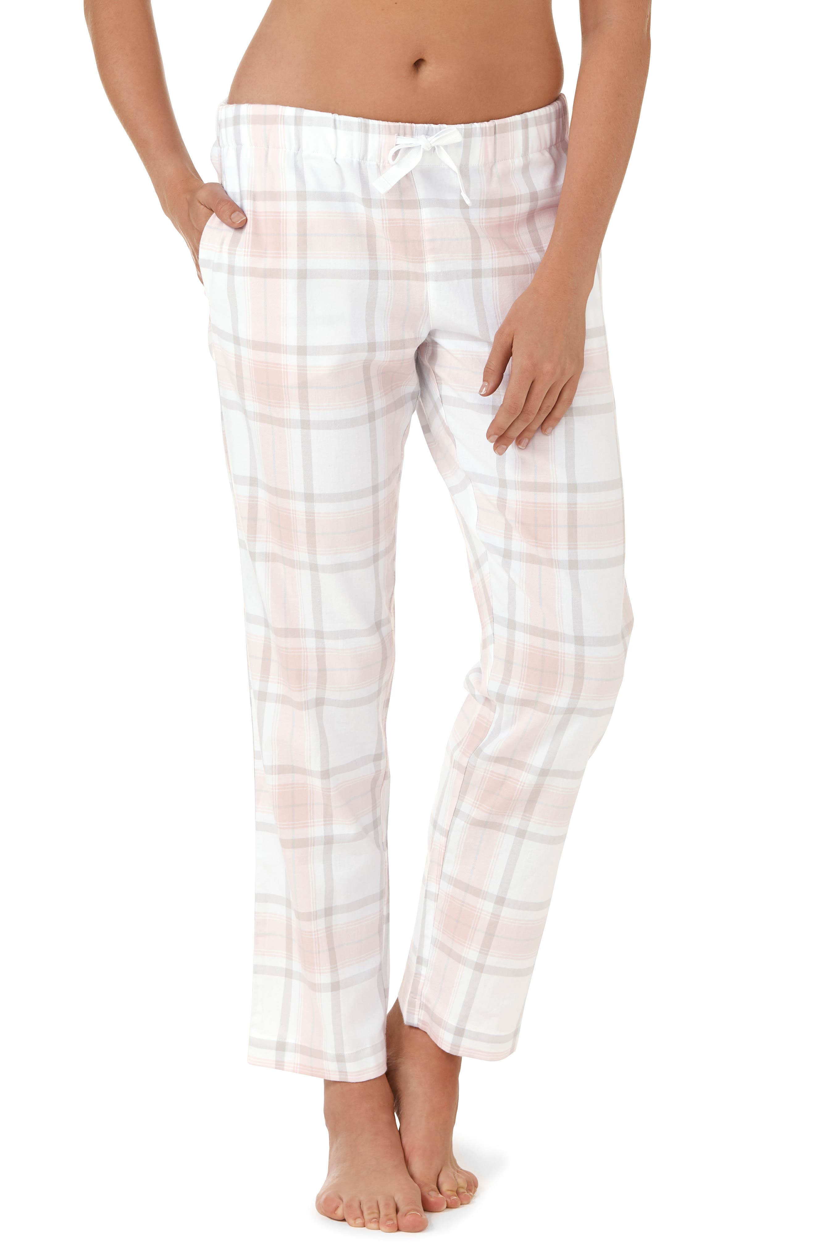 Check Pajama Bottoms,                         Main,                         color, GREY / PINK CHECK