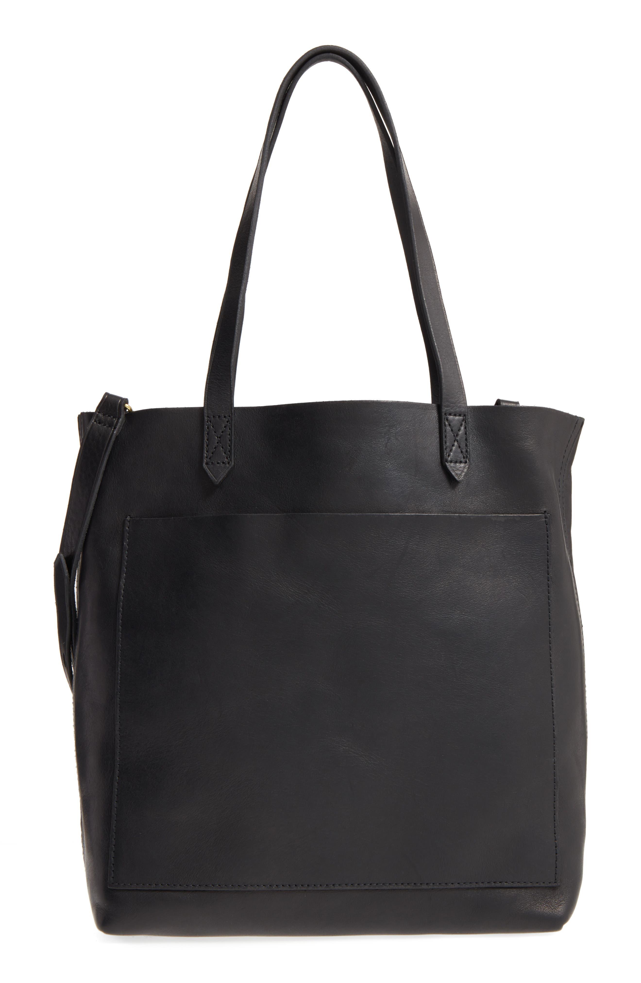 Medium Leather Transport Tote, Main, color, TRUE BLACK