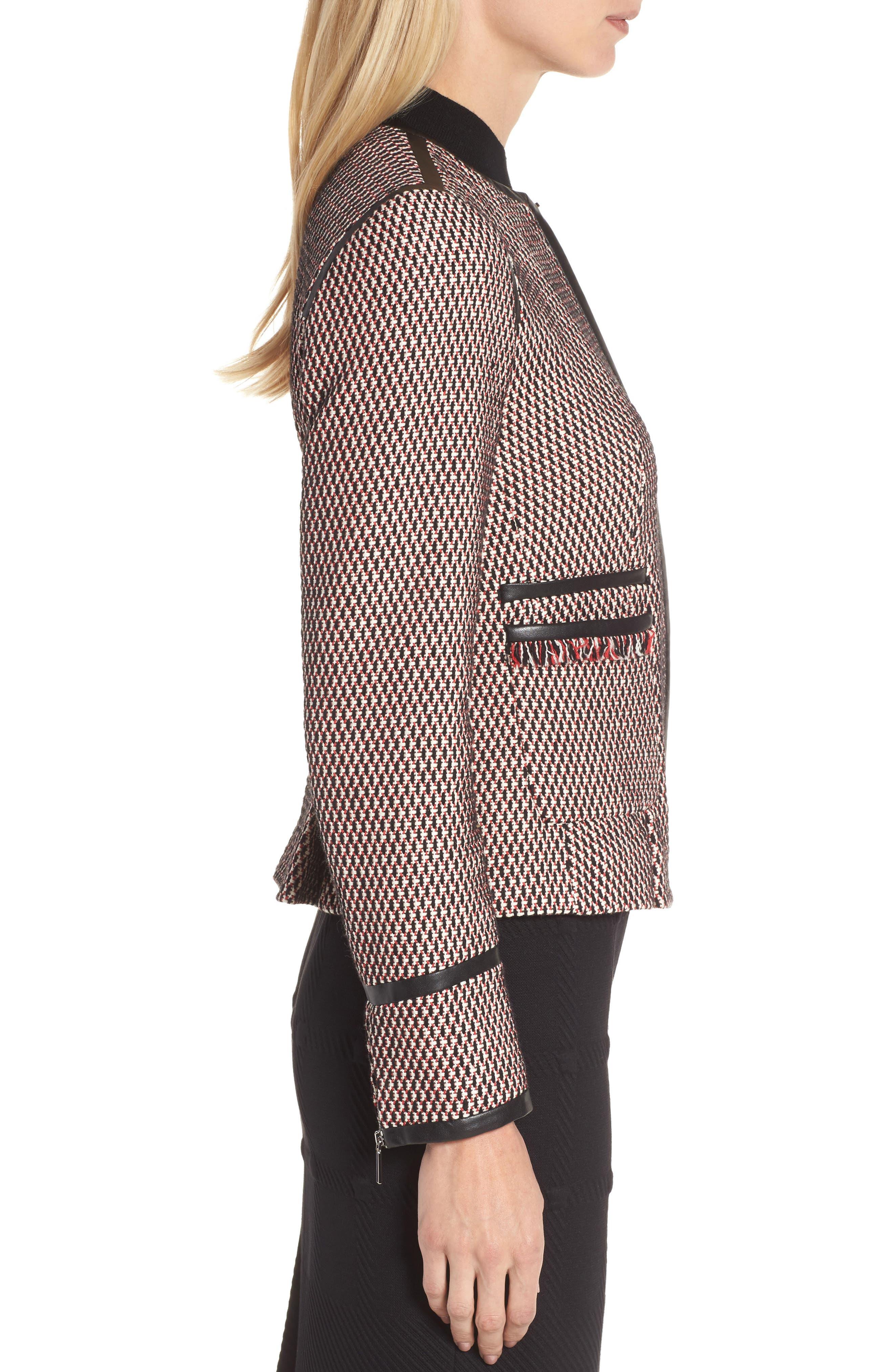 Keili Collarless Tweed Jacket,                             Alternate thumbnail 3, color,                             903