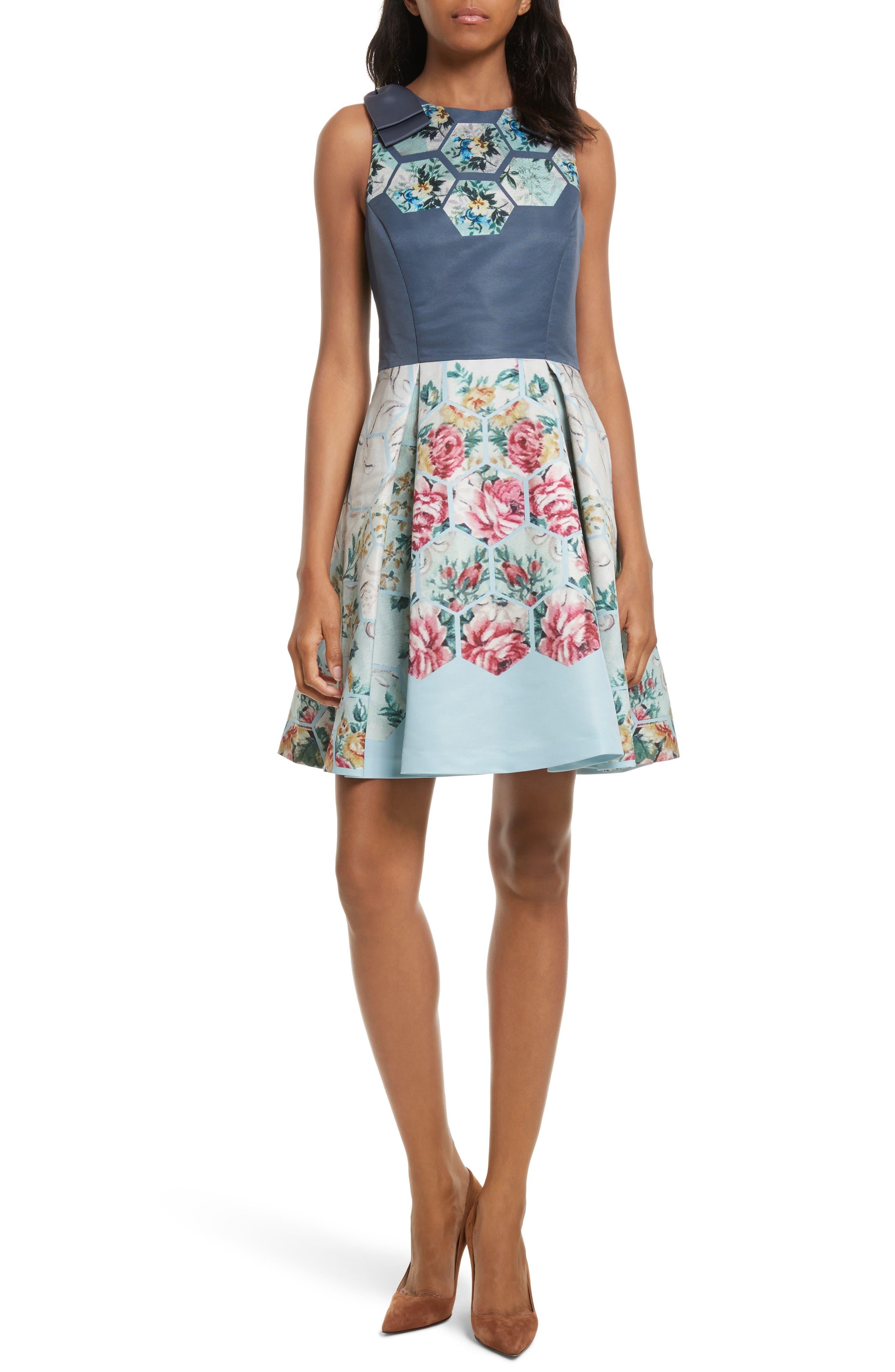 Bow Skater Dress,                             Main thumbnail 1, color,                             021