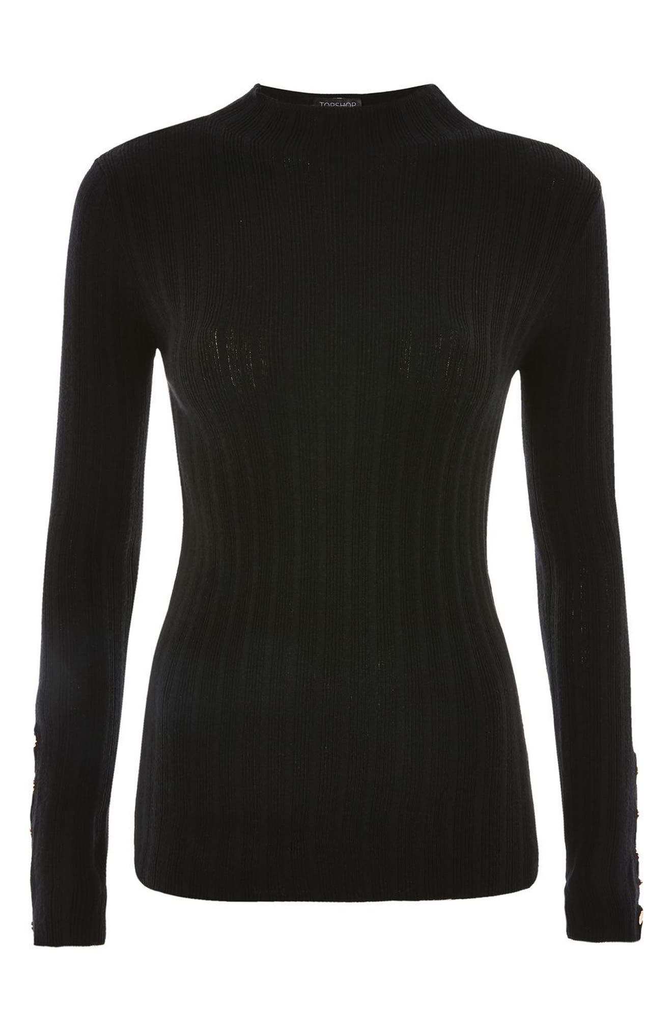 Snap Sleeve Ribbed Sweater,                             Alternate thumbnail 3, color,                             001