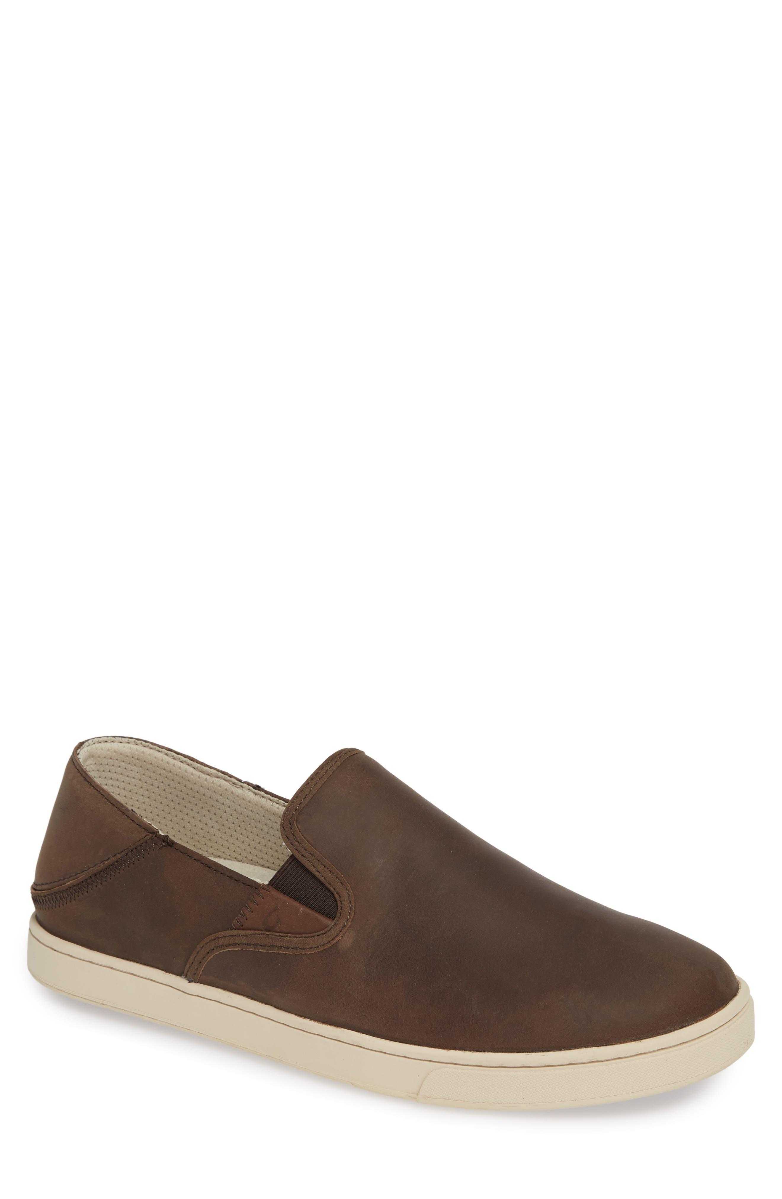 Kahu 'Ili Collapsible Sneaker,                         Main,                         color, DARK WOOD/ TAPA LEATHER