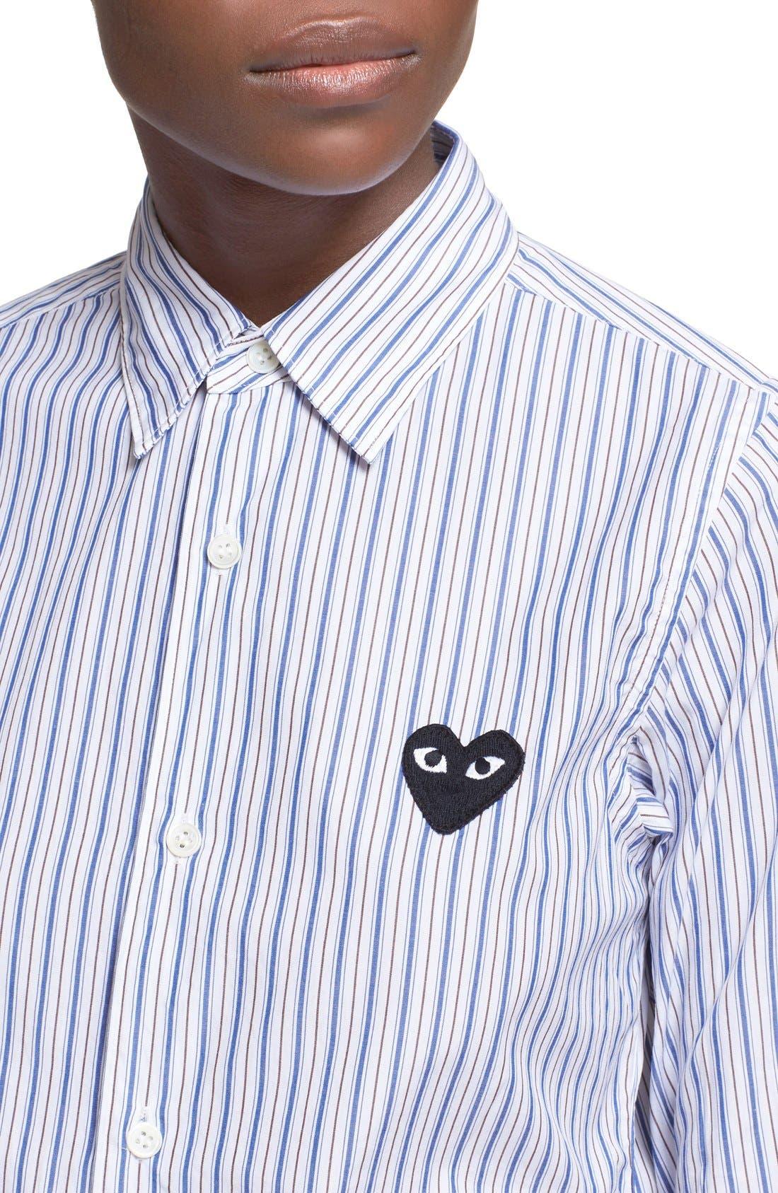 Comme des Garçons PLAY Stripe Shirt,                             Alternate thumbnail 4, color,                             BLUE