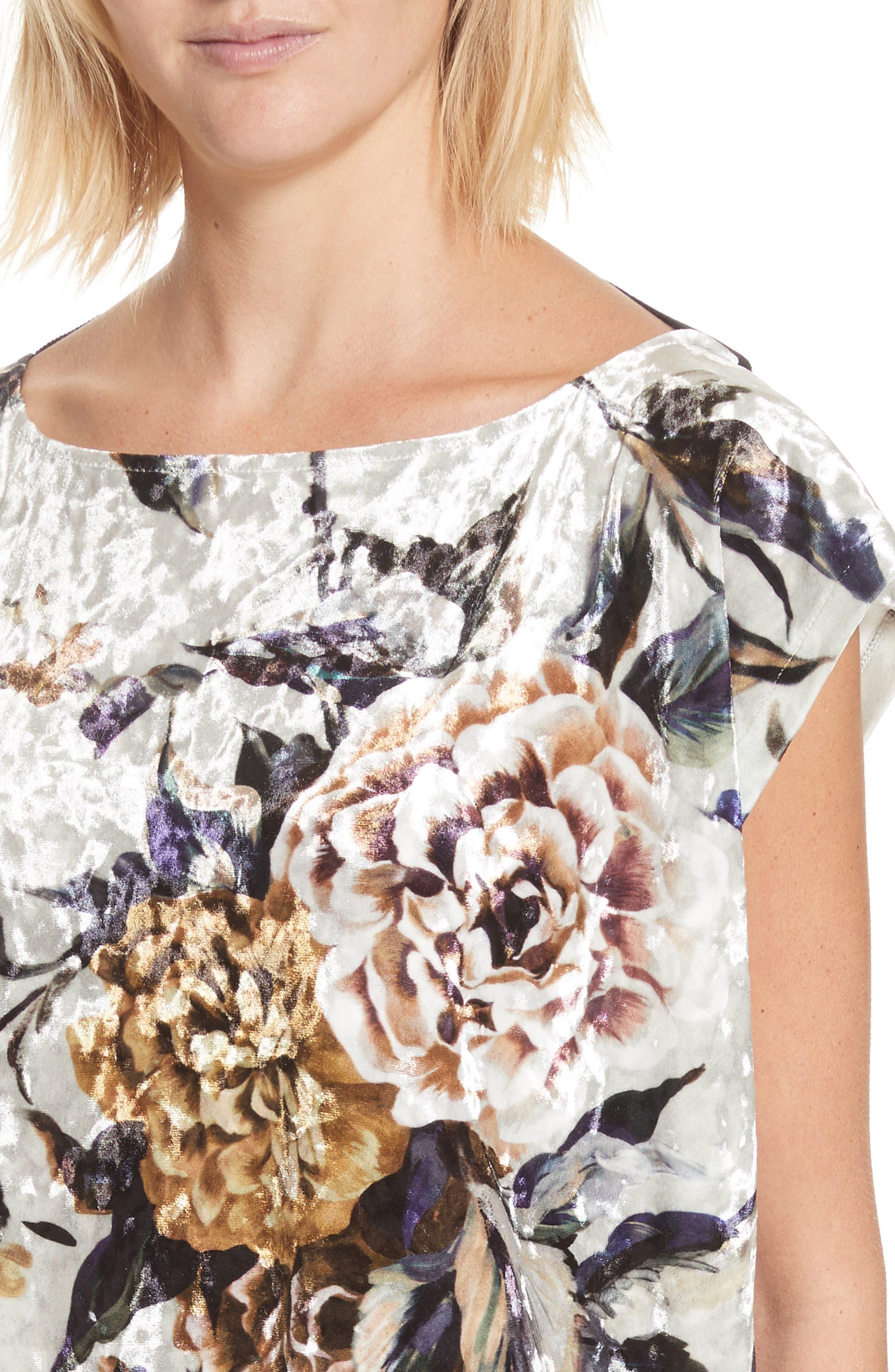 Floral Print Velvet Dress,                             Alternate thumbnail 4, color,                             087