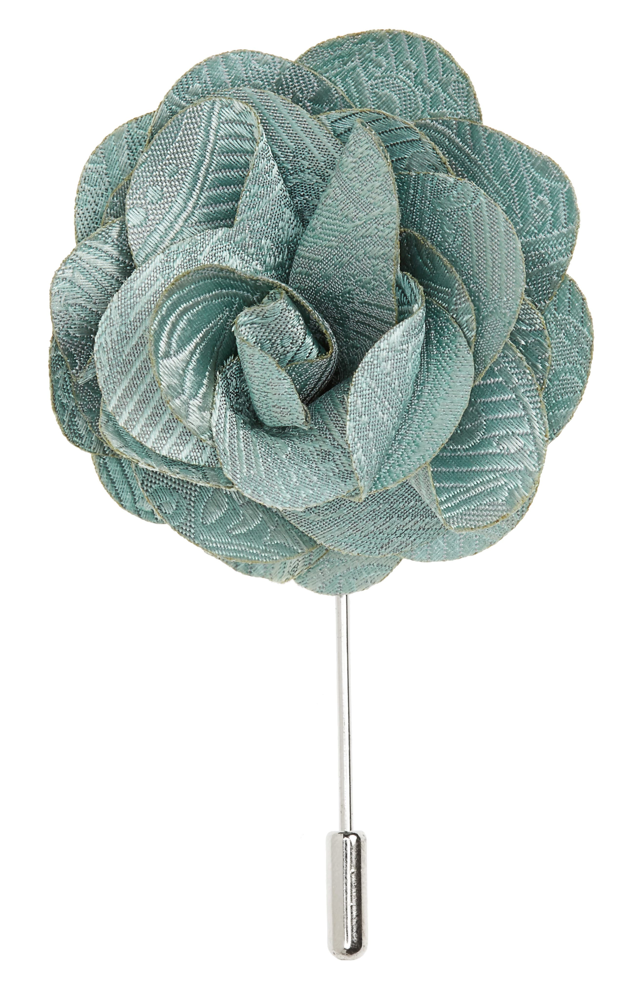 Twill Paisley Silk Lapel Flower,                             Main thumbnail 1, color,