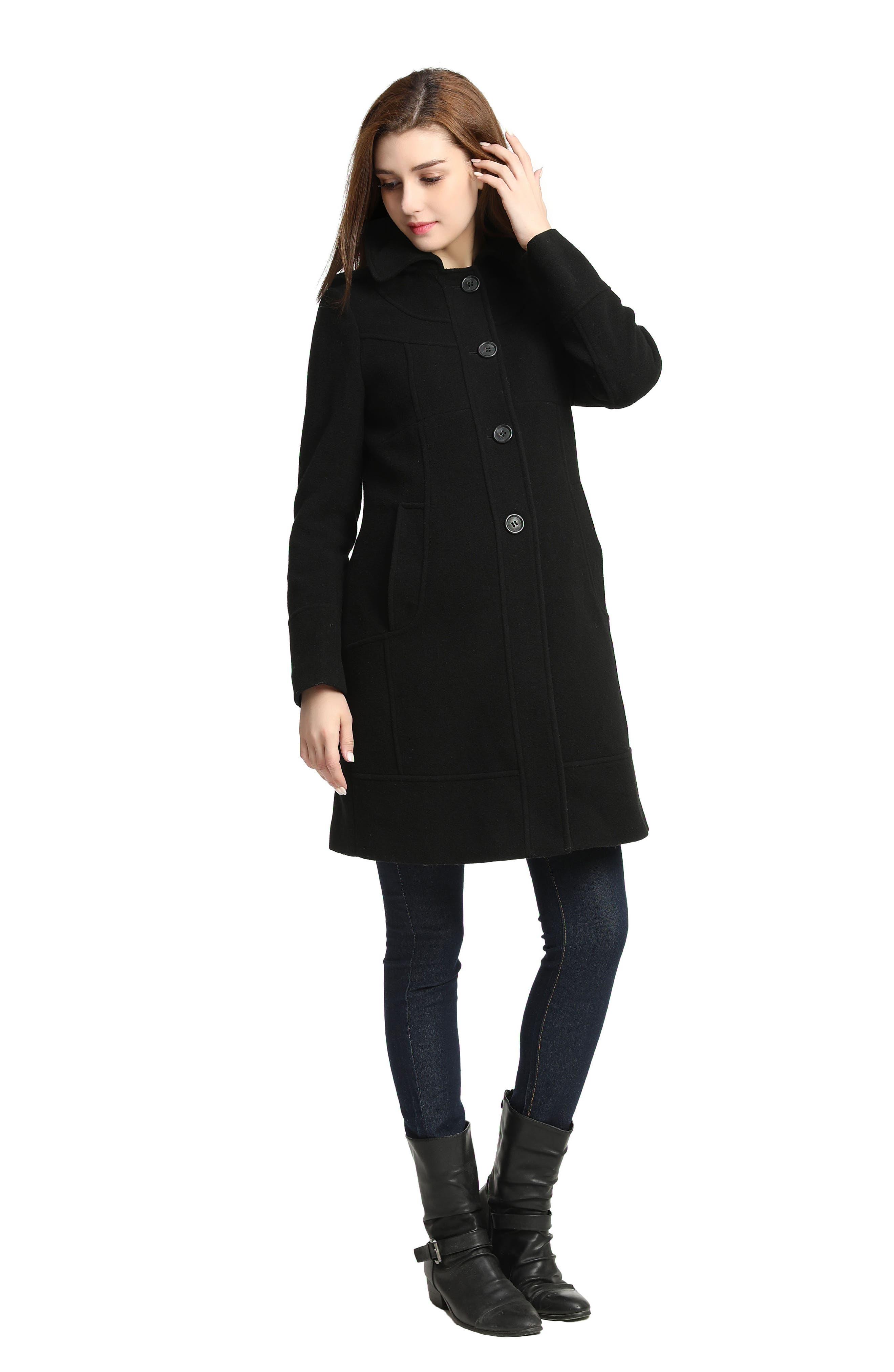 Wool Blend Maternity Coat,                             Alternate thumbnail 4, color,                             BLACK