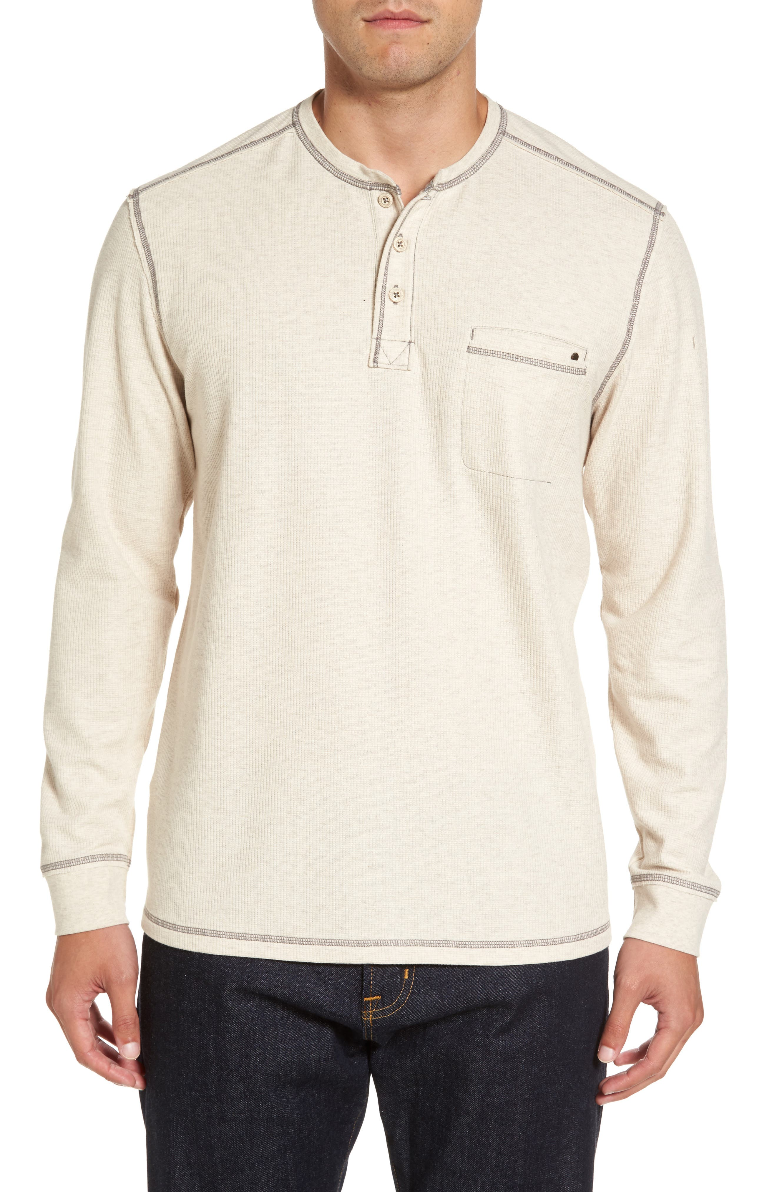 Island Thermal Standard Fit Thermal Henley,                             Main thumbnail 1, color,                             ABALONE HEATHER