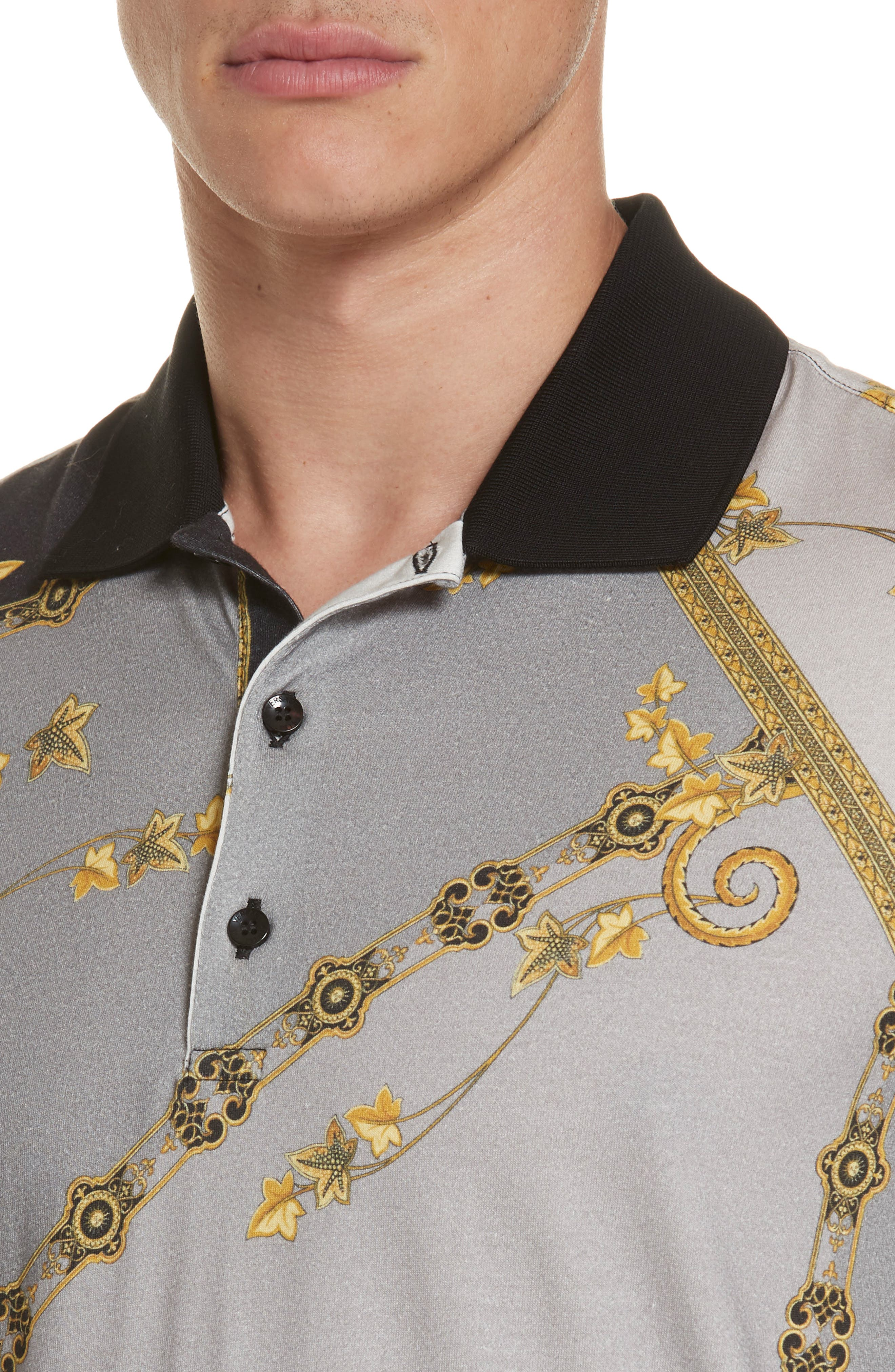 VERSACE COLLECTION,                             Print Jersey Polo,                             Alternate thumbnail 4, color,                             GREY PRINT
