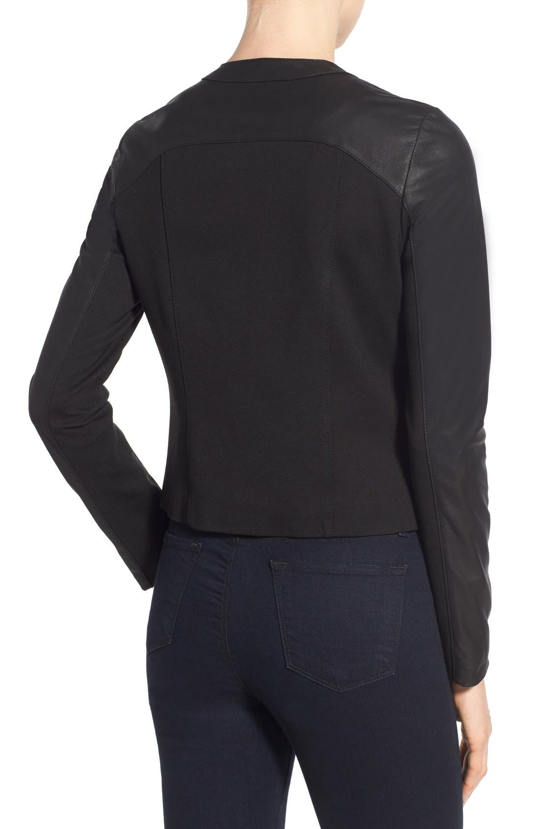 Lambskin Leather & Knit Zip Front Collarless Jacket,                             Alternate thumbnail 4, color,                             001