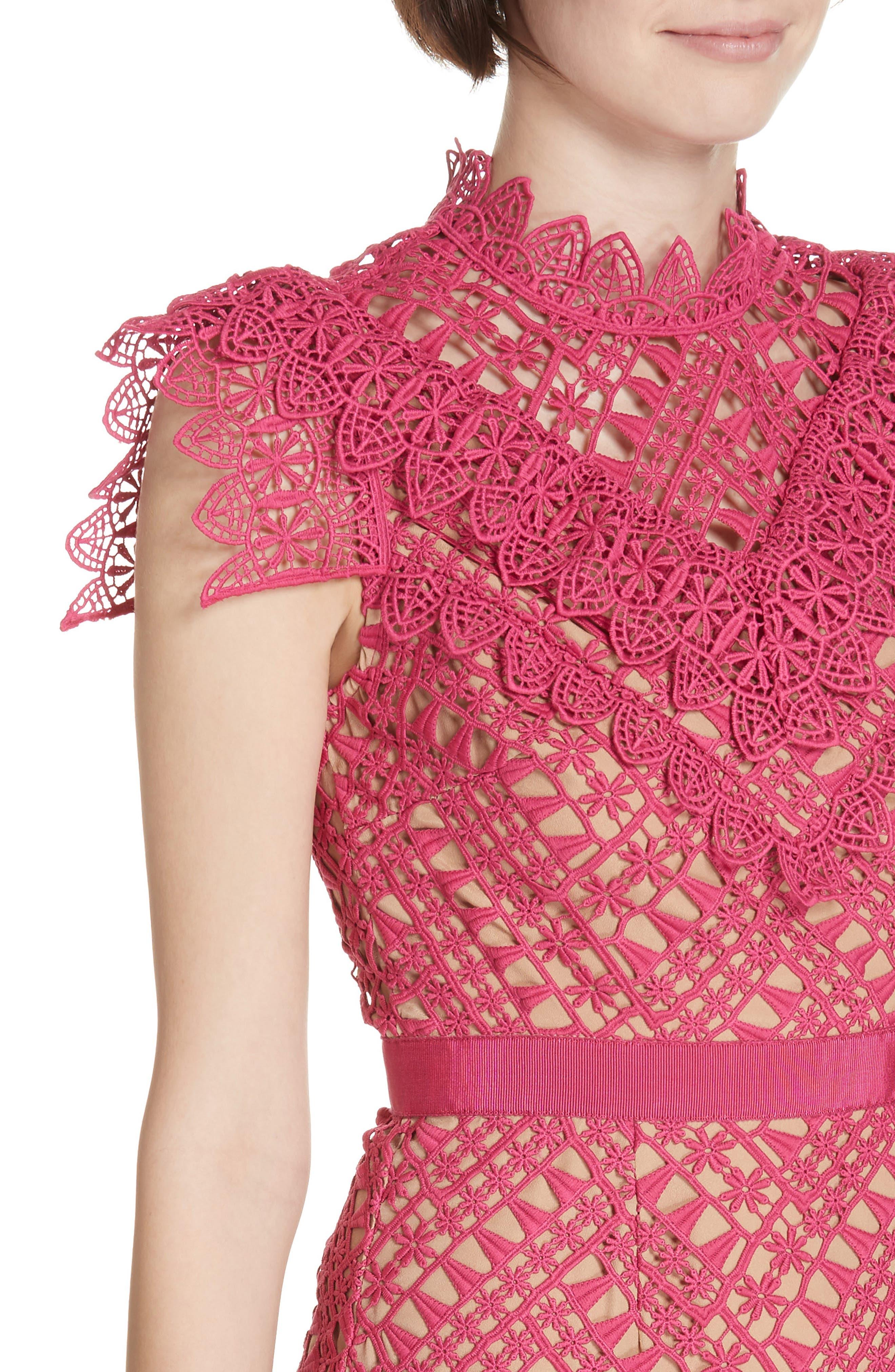 Lace Handkerchief Hem Minidress,                             Alternate thumbnail 4, color,                             FUSCHIA
