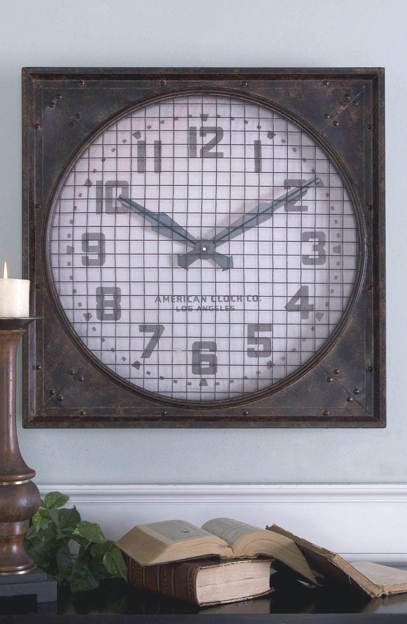 'Warehouse' Wall Clock with Grill,                             Alternate thumbnail 3, color,                             100