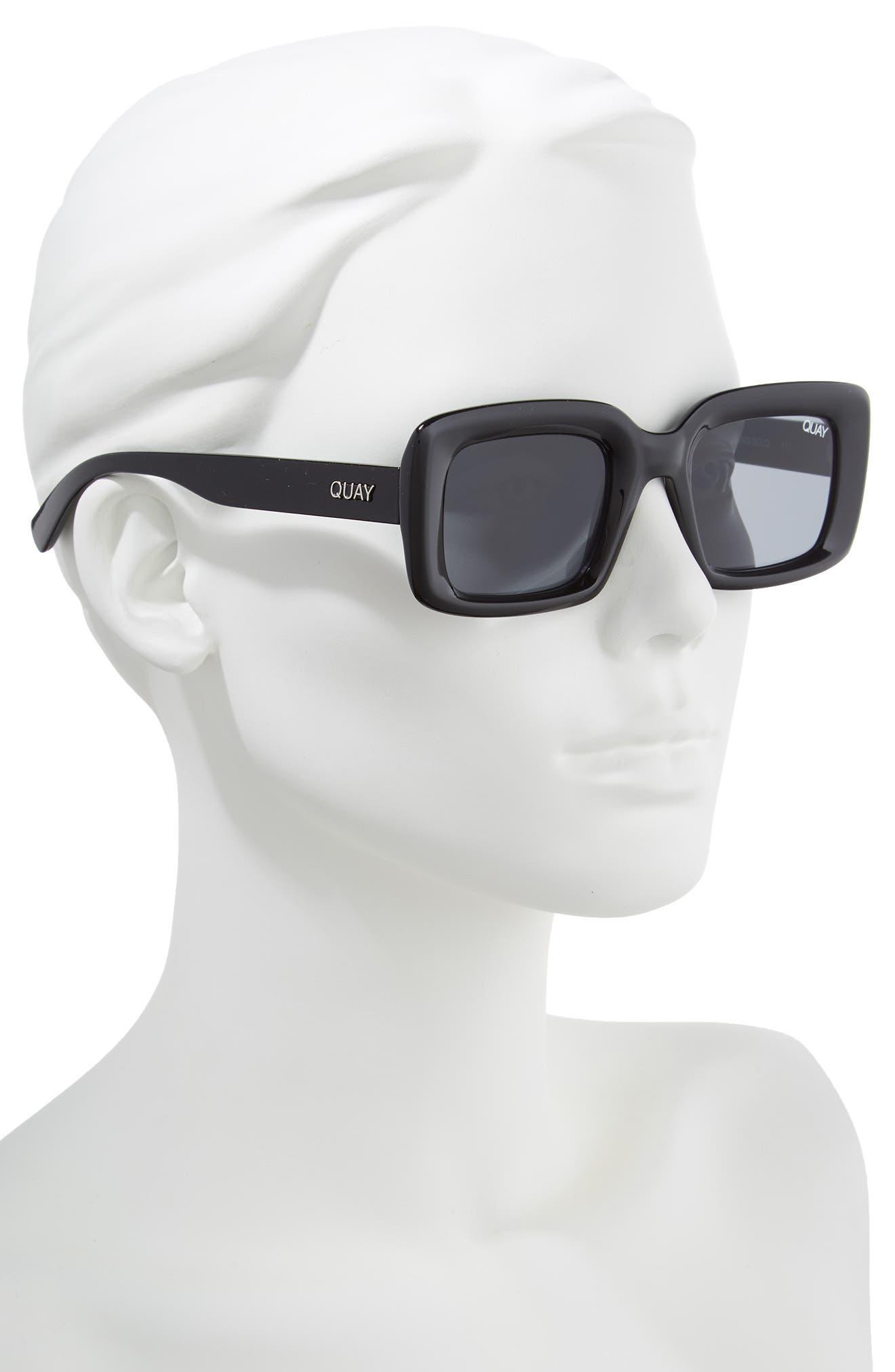 Going Solo 48mm Square Sunglasses,                             Alternate thumbnail 2, color,                             BLACK/ SMOKE