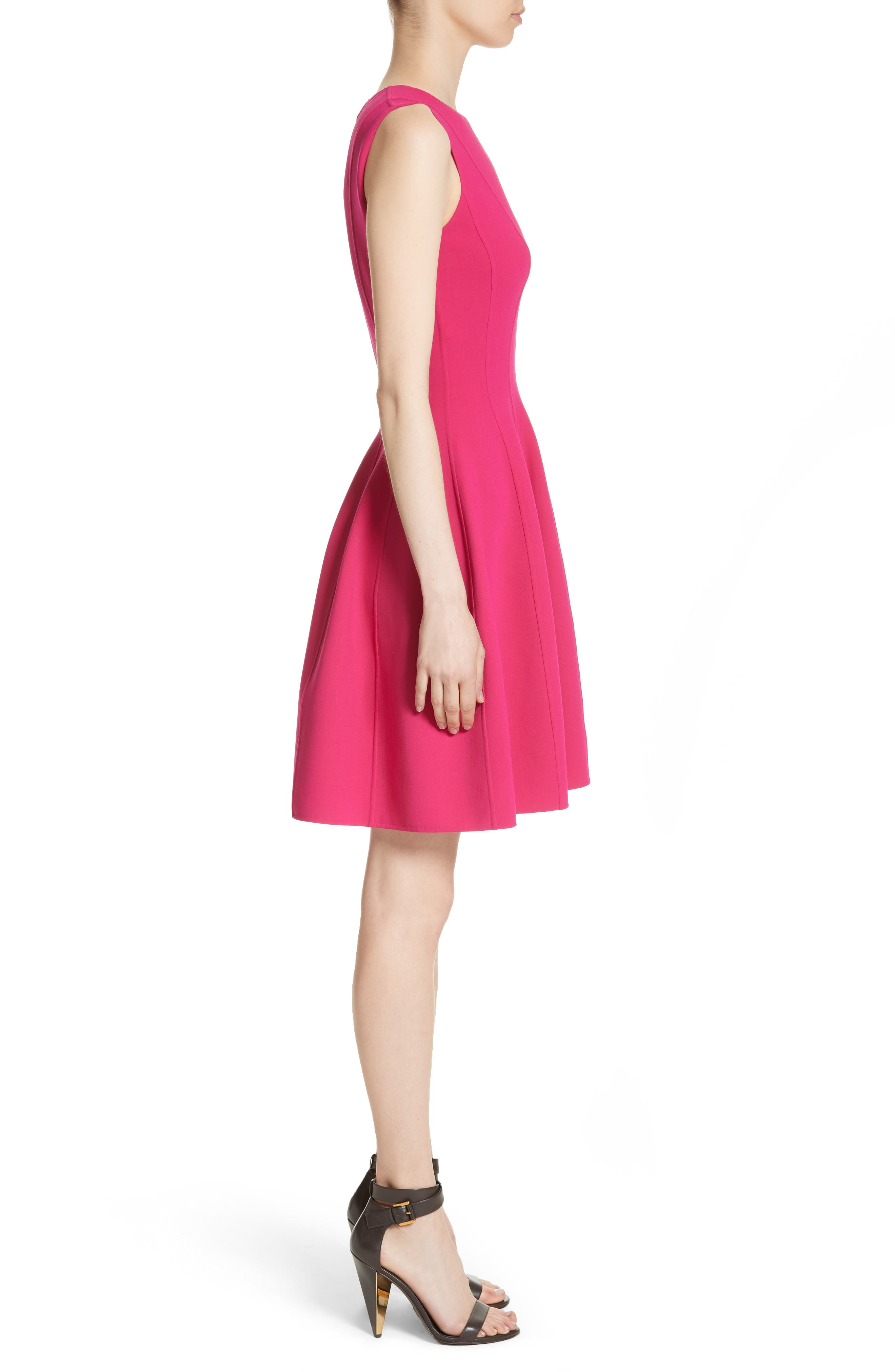 Stretch Wool Bell Dress,                             Alternate thumbnail 3, color,                             657