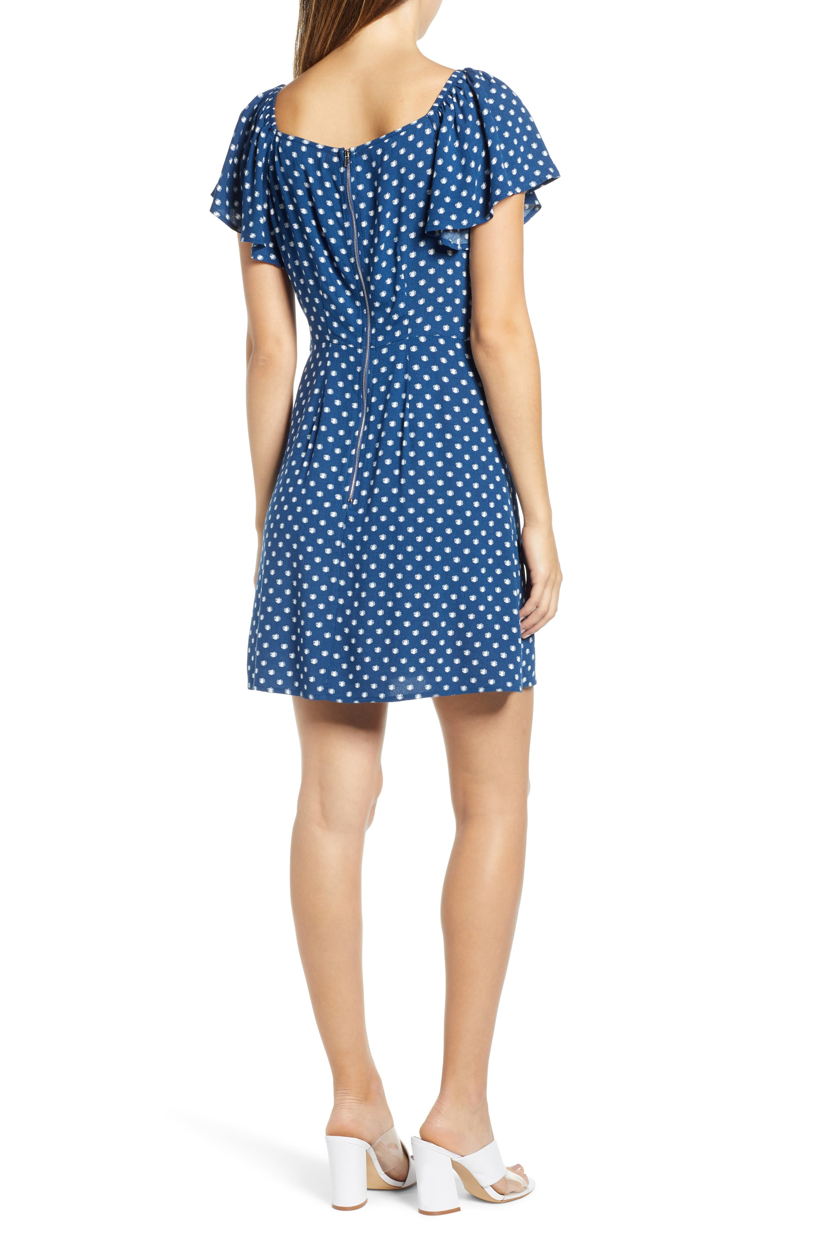 Flutter Sleeve A-Line Dress,                             Alternate thumbnail 2, color,                             BLUE DOT
