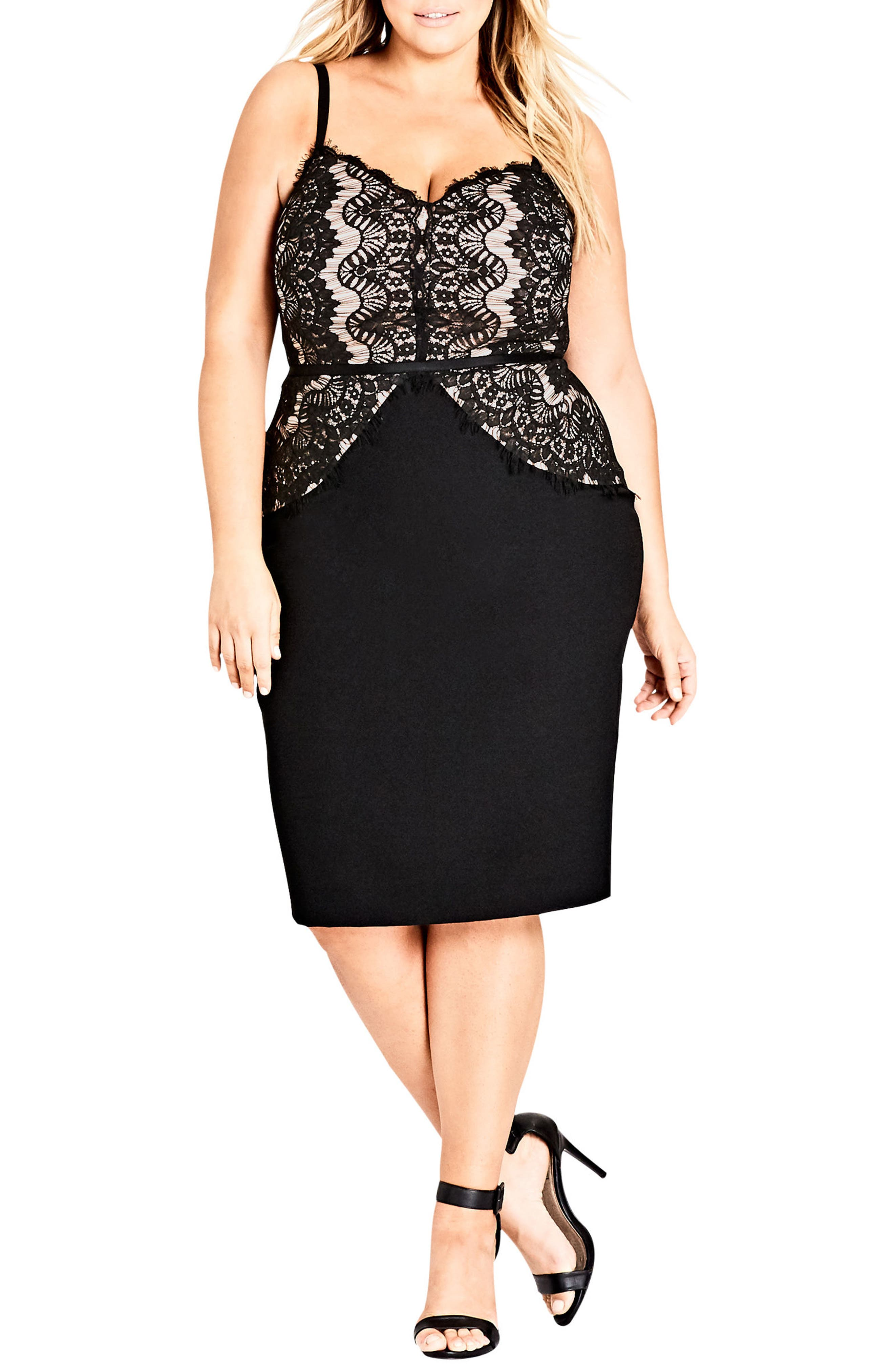 Plus Size City Chic Spell It Out Sheath Dress, Black