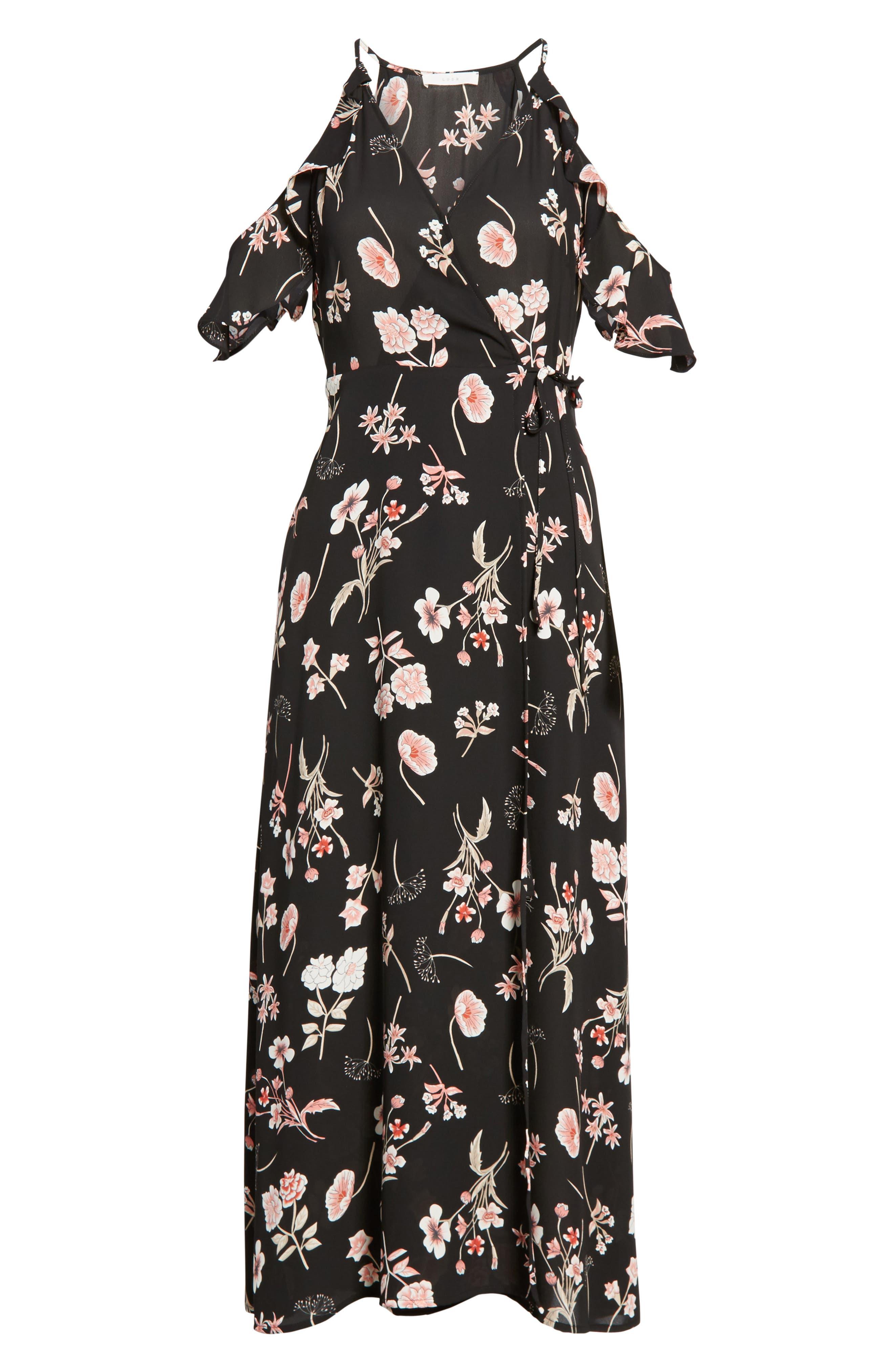 Floral Cold Shoulder Midi Dress,                             Alternate thumbnail 6, color,                             001